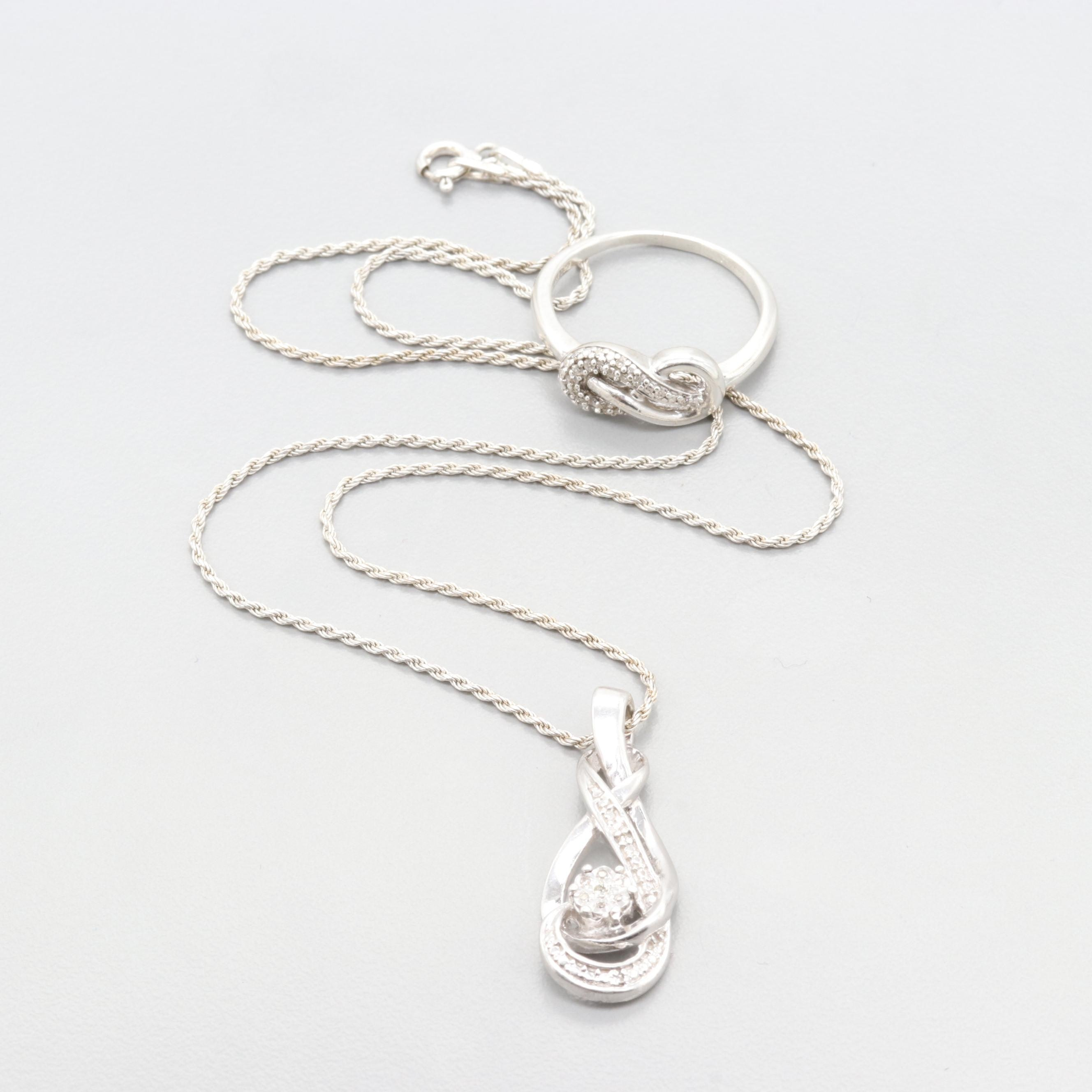 Sterling Silver Diamond Ring & Necklace
