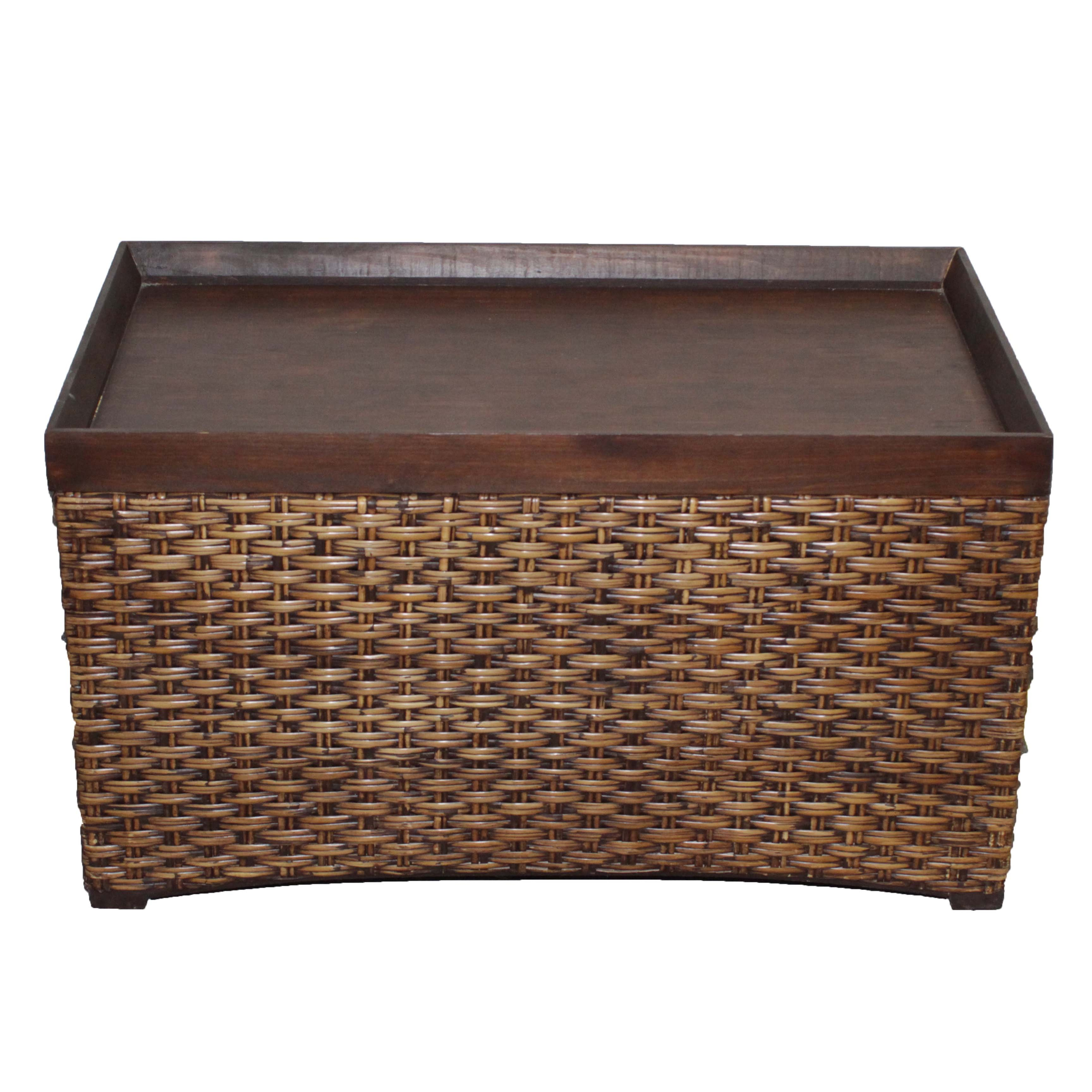 Contemporary Rattan Trunk with a Bamboo Lid