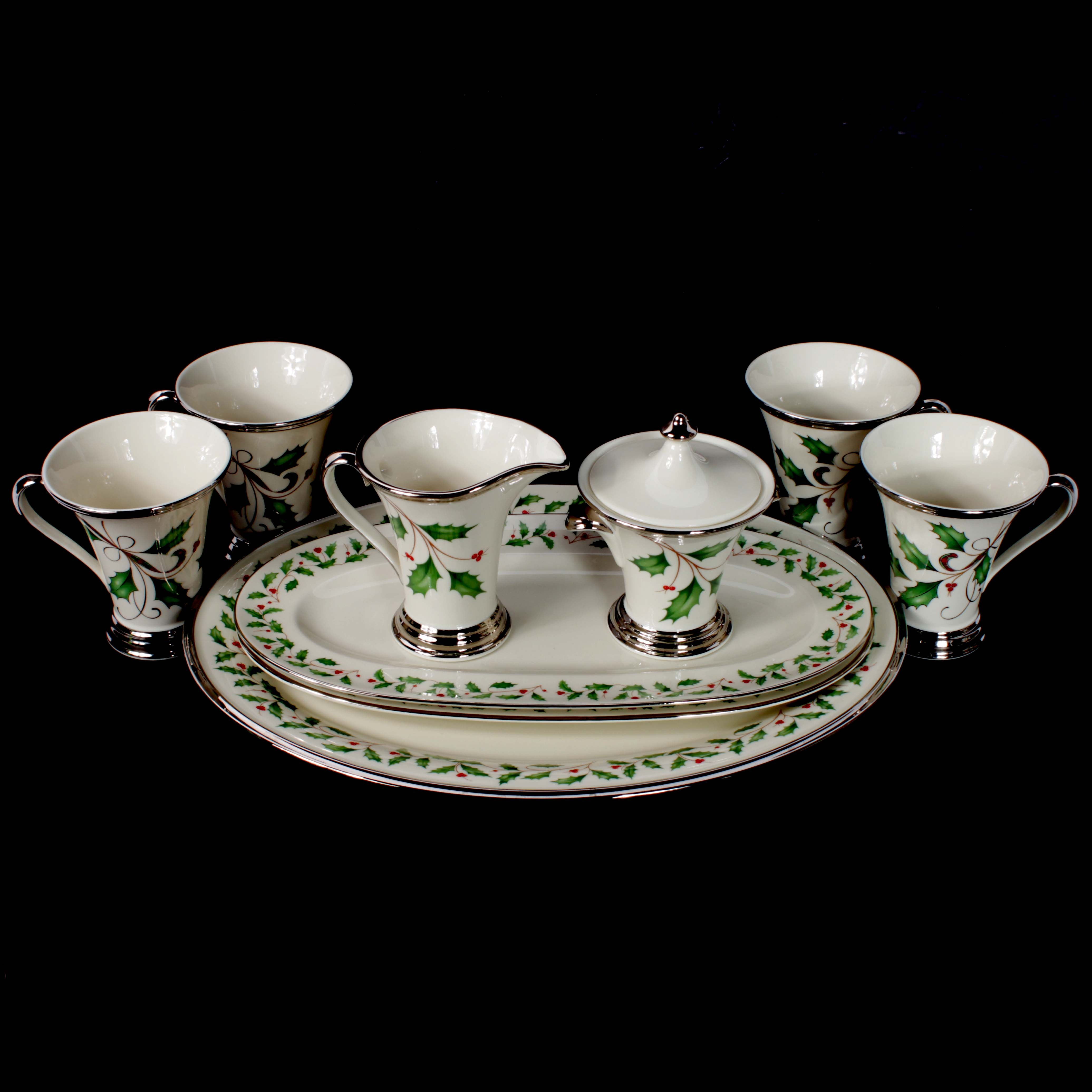 "Lenox ""Holiday Platinum"" and ""Holiday Nouveau"" Bone China Serveware"