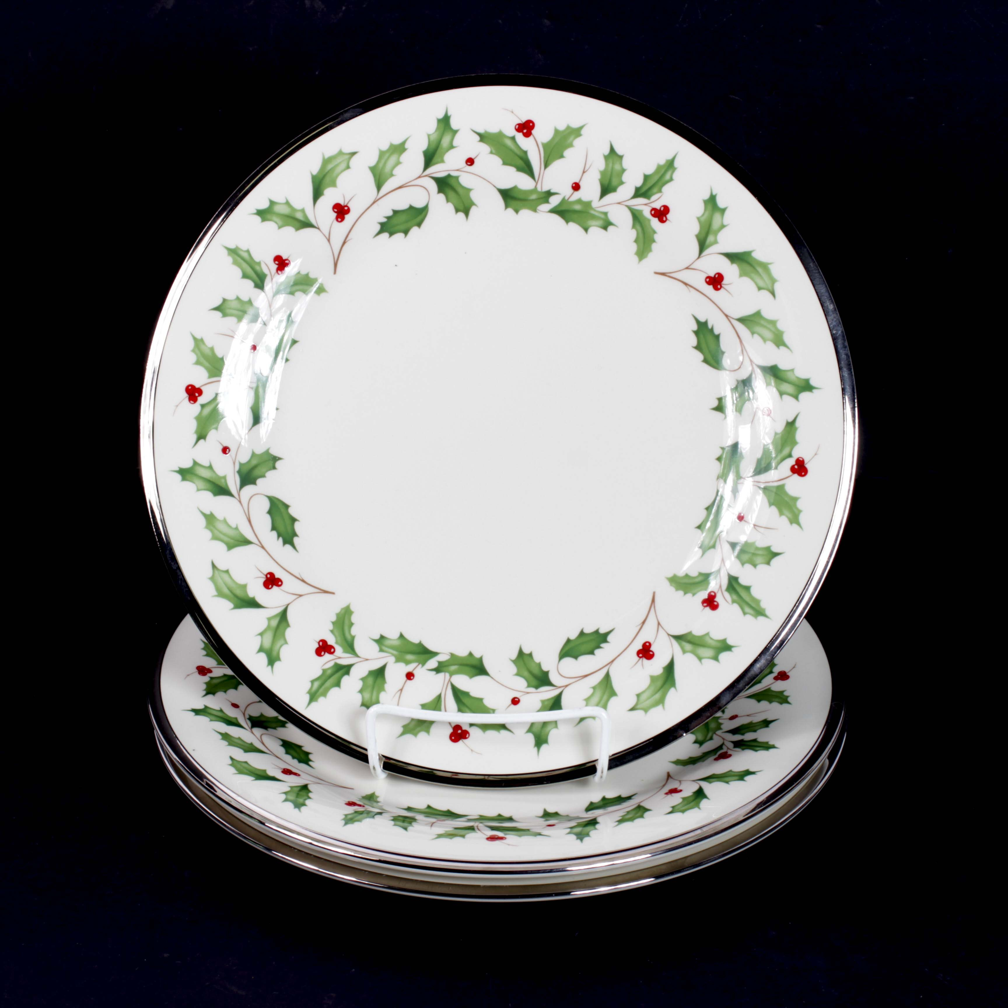 "Lenox ""Holiday Platinum"" Bone China Dinner Plates"