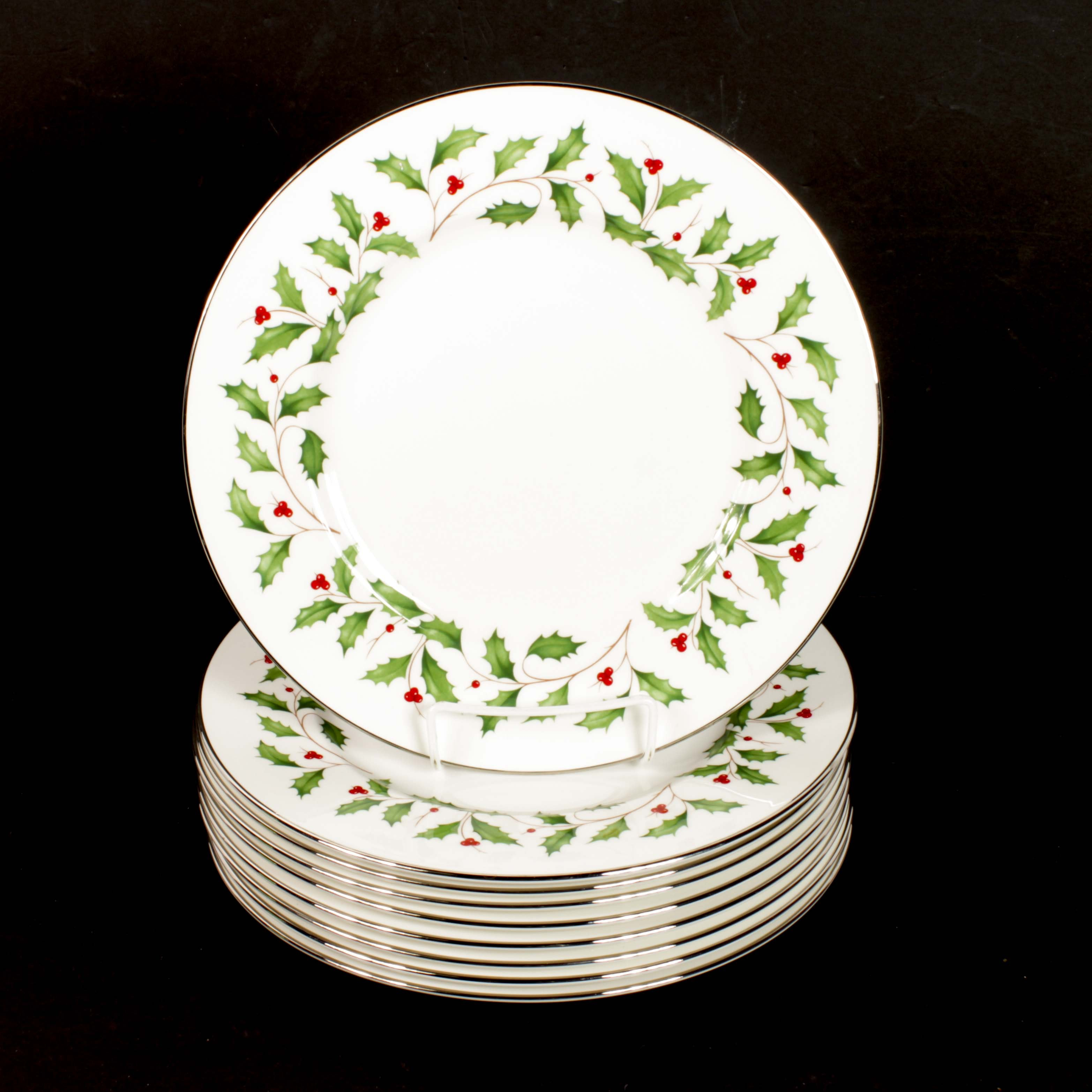 "Lenox China ""Holiday"" White Dinner Plates"