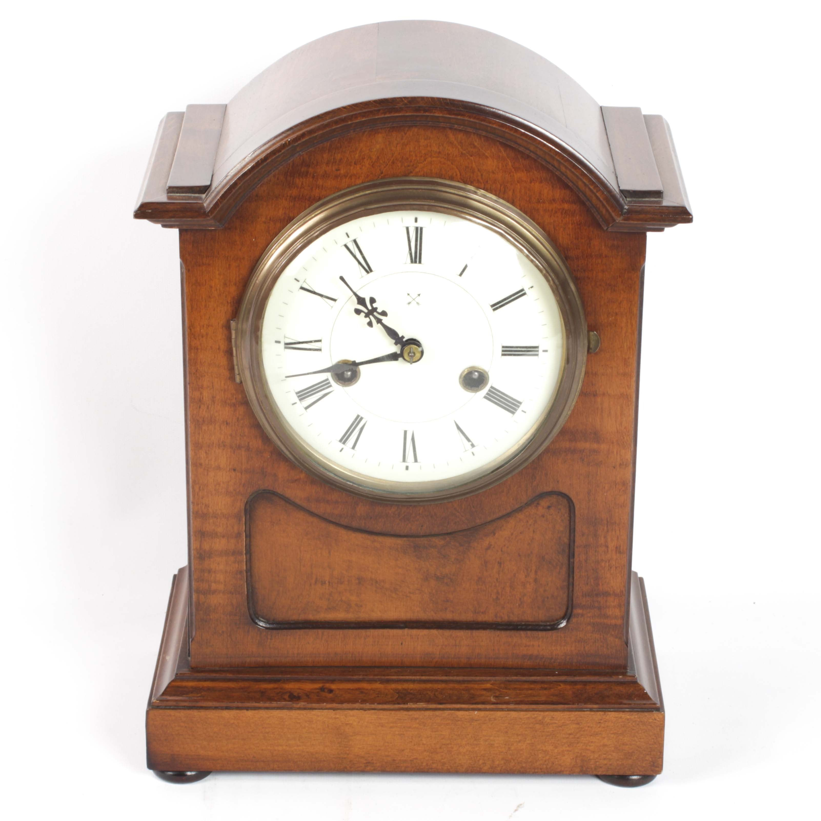 Hamburg American Clock Company Mahogany Case Mantel Clock, Early 20th Century