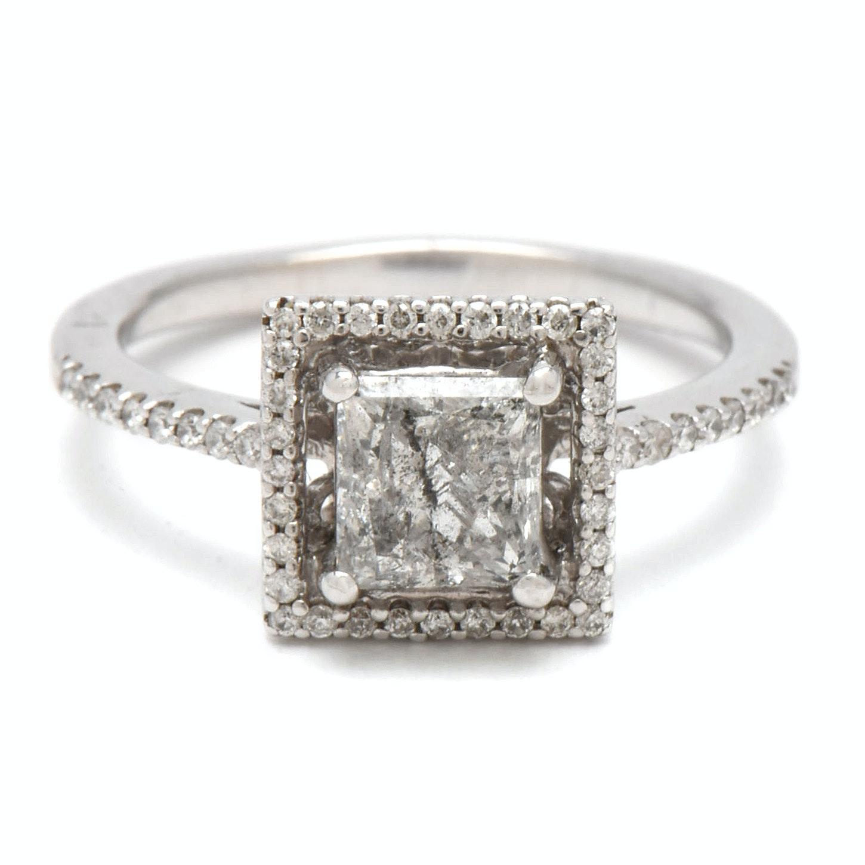 18K White Gold 1.09 CTW Diamond Engagement Ring
