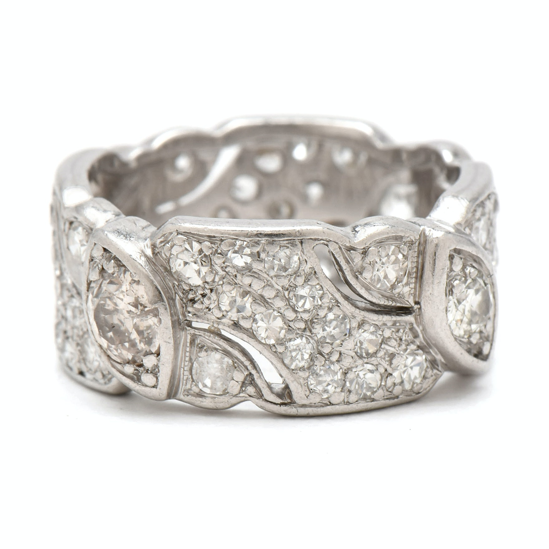 Late Art Deco Platinum 1.78 CTW Diamond Eternity Ring