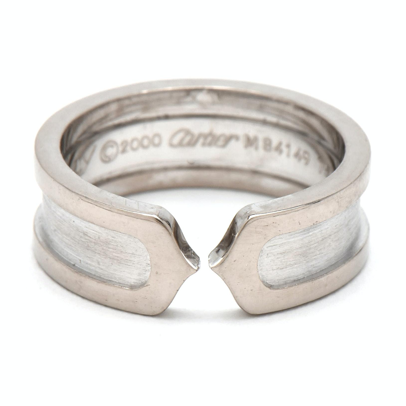 """Cartier 18K White Gold """"C de Cartier"""" Logo Ring"""