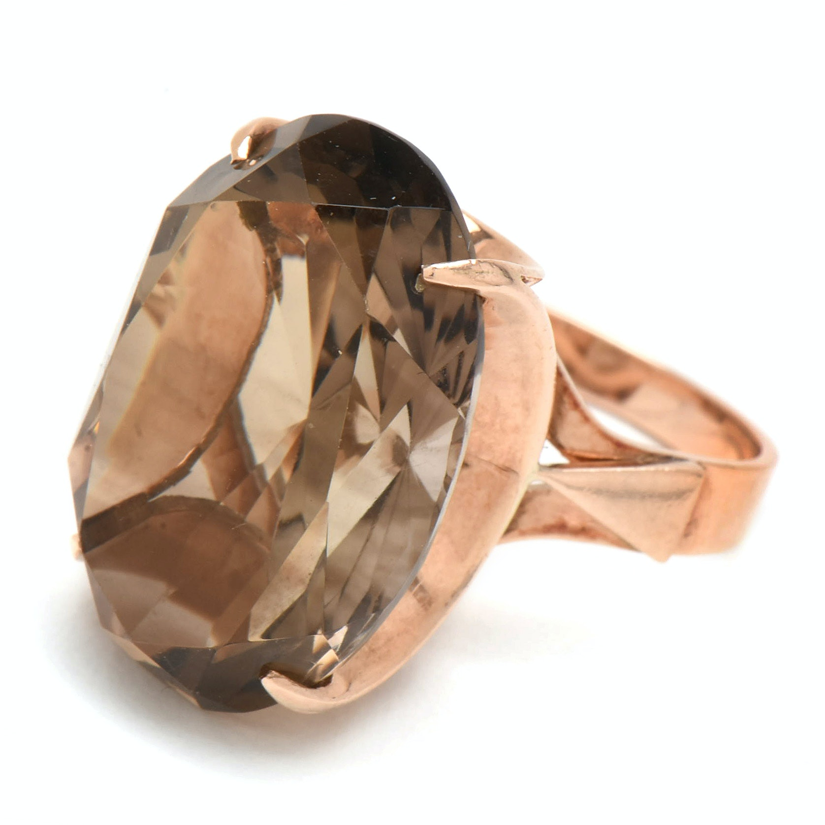 10K Rose Gold 18.71 CT Smoky Quartz Statement Ring