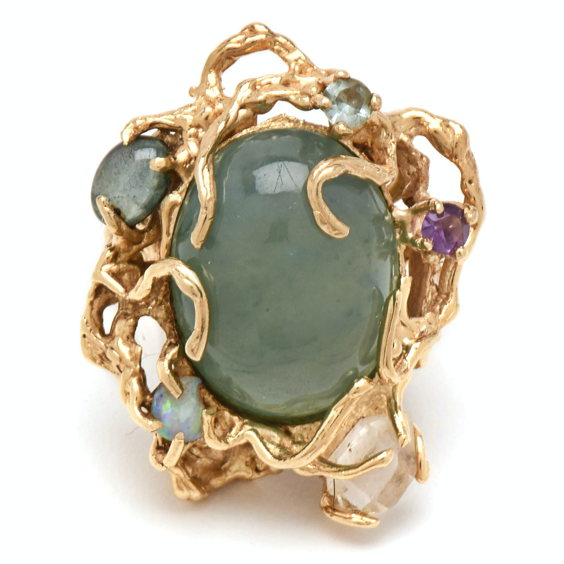 14K Yellow Gold 37.87 CT Unenhanced Jadeite and Gemstone Statement Ring