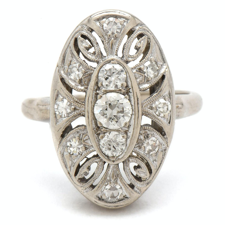 Vintage 14K White Gold Diamond Pierced Shield Ring