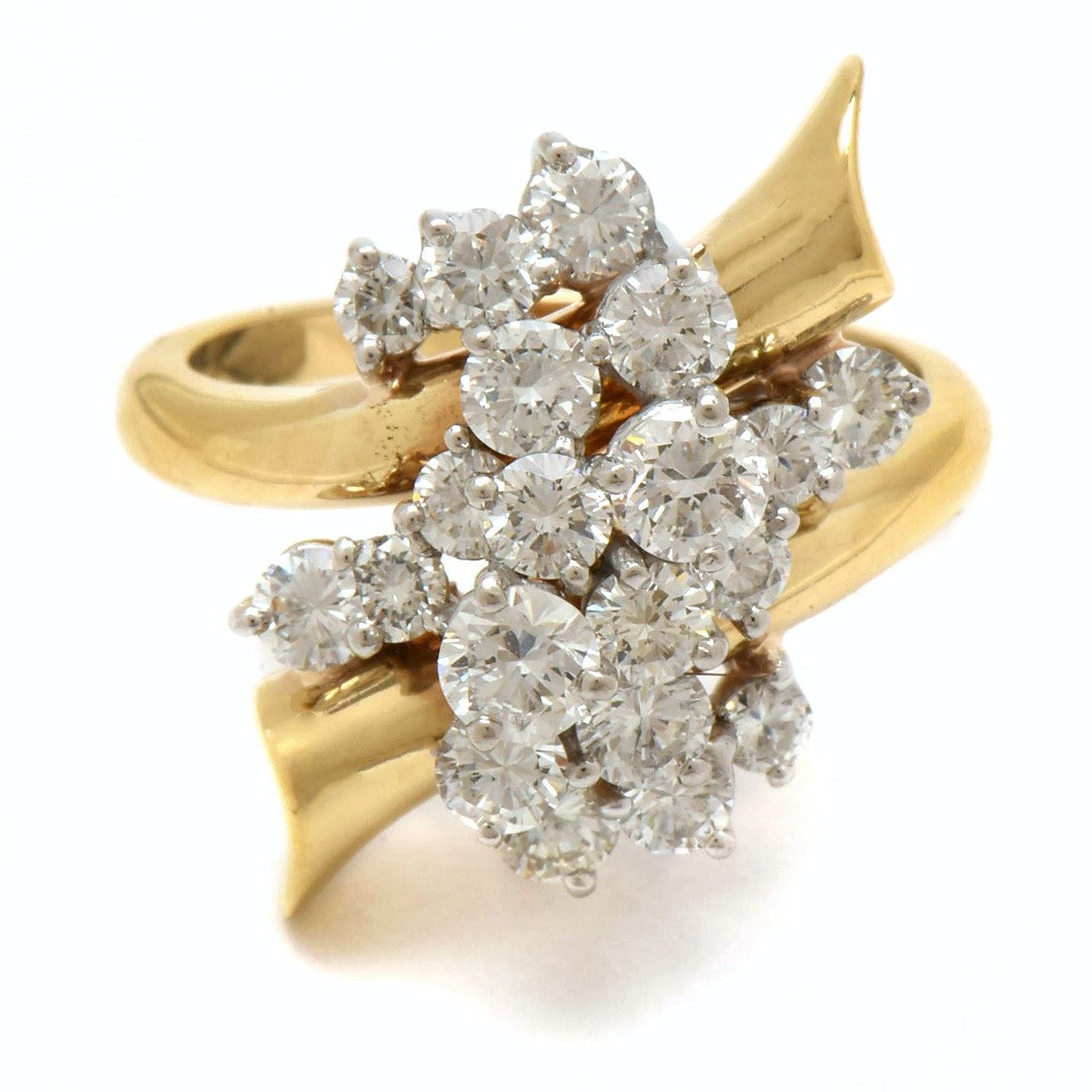 18K Yellow Gold with Platinum Head 2.27 CTW Diamond Bypass Ring En Pampille