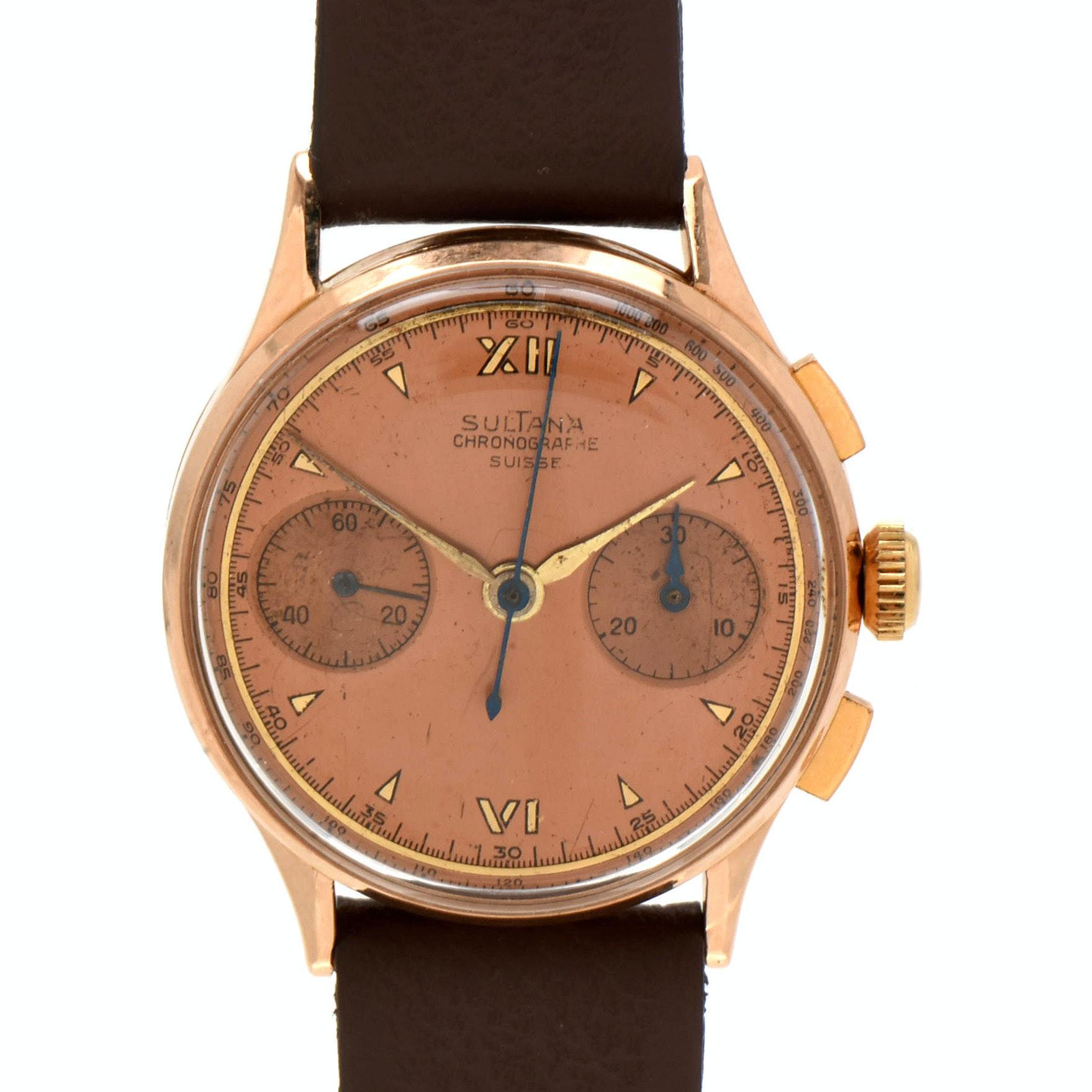 Vintage Chronographe Suisse Sultana 18K Rose Gold Wristwatch