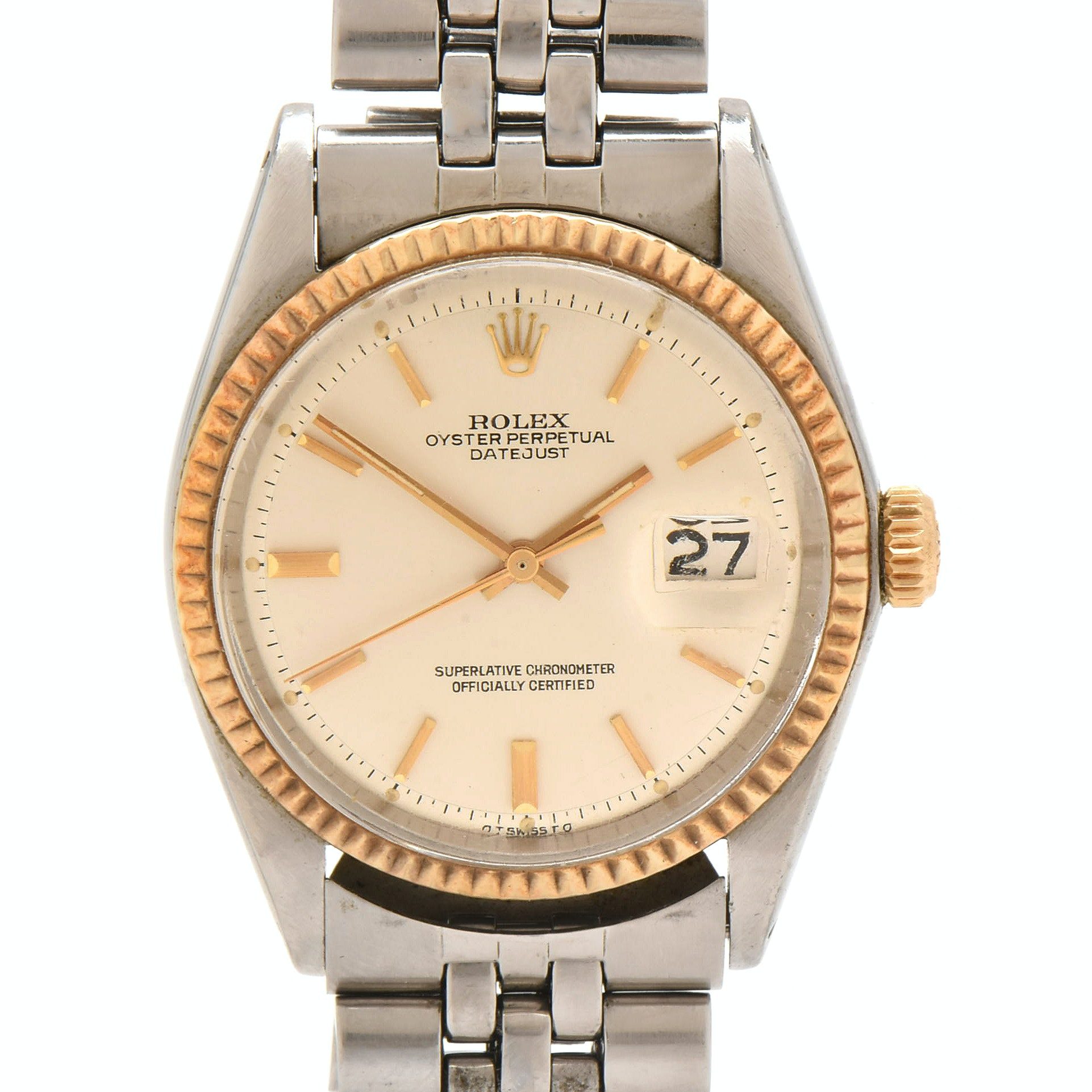 Rolex Datejust 14K Yellow Gold Fluted Bezel and Stainless Steel Wristwatch, 1972