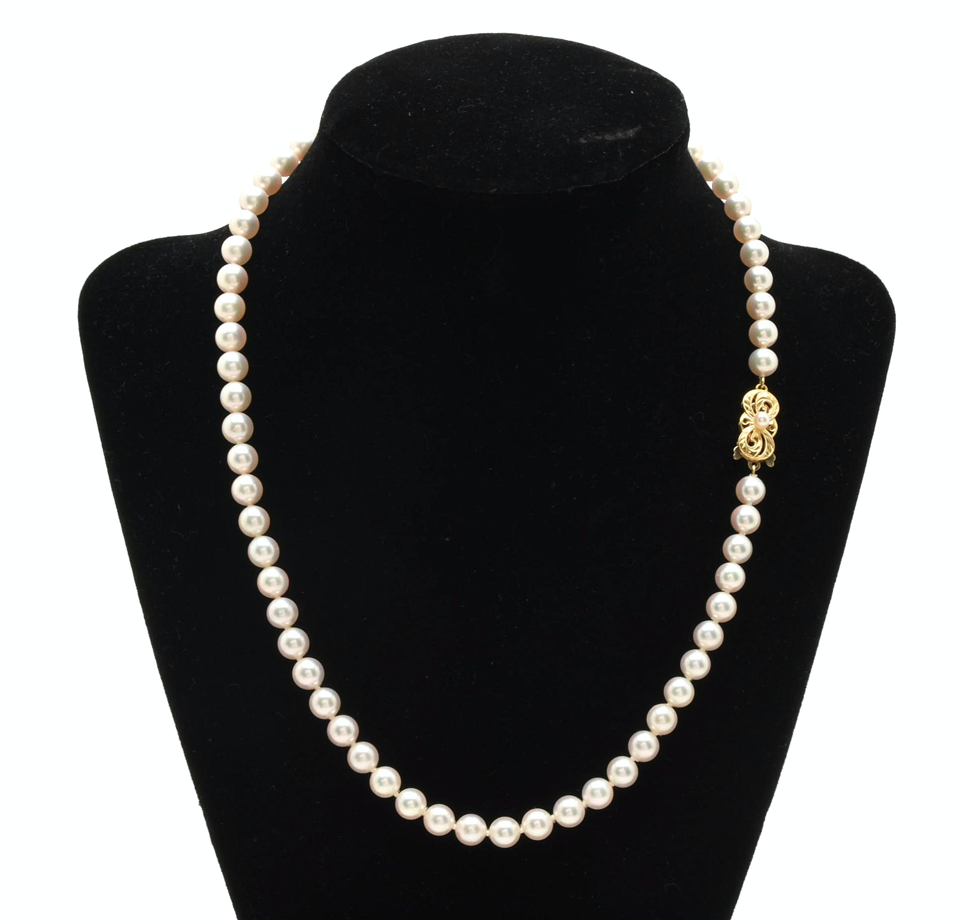 Mikimoto Cultured Pearl Single Strand Necklace with 18K Yellow Gold Clasp