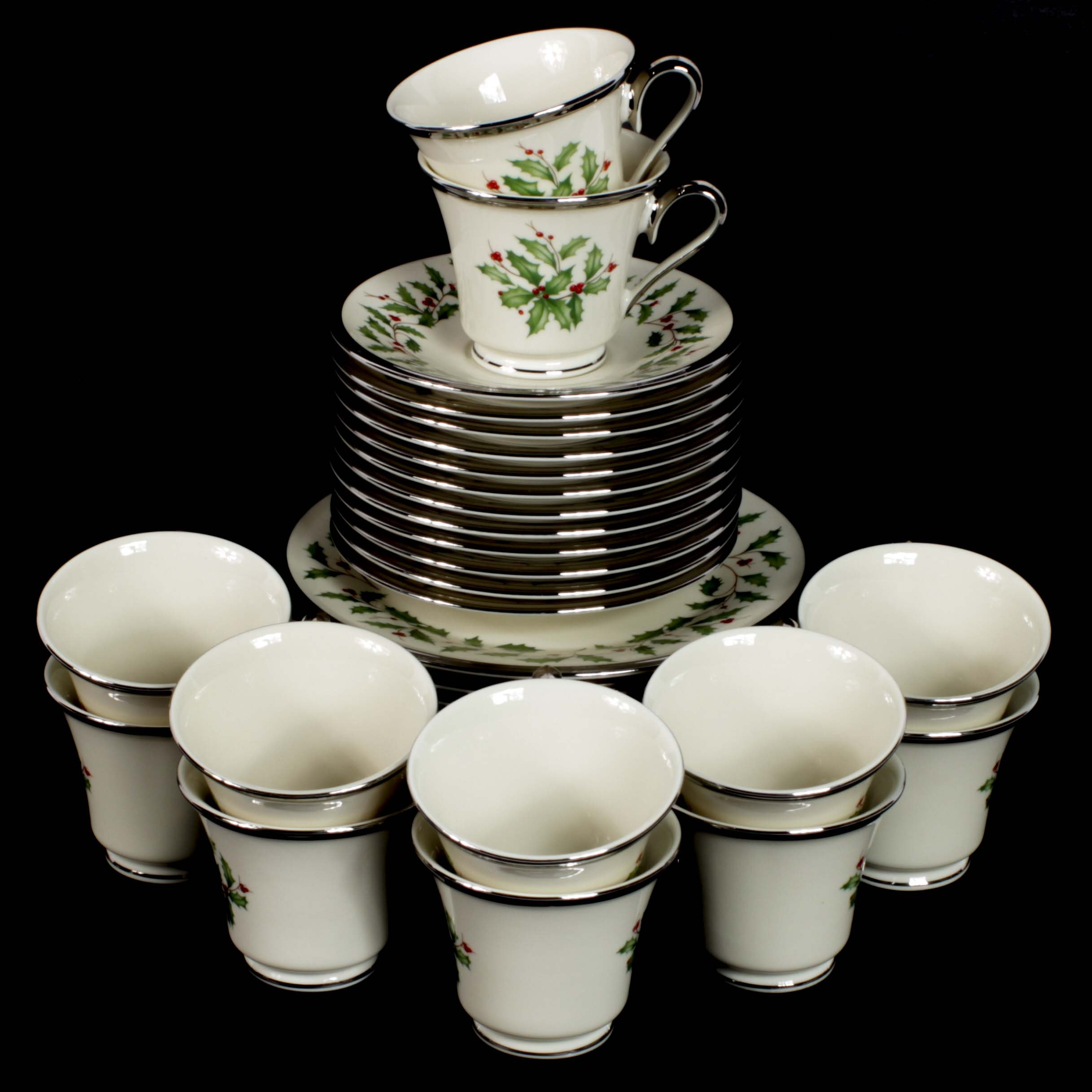 "Lenox ""Holiday Platinum"" Bone China Dessert Service"