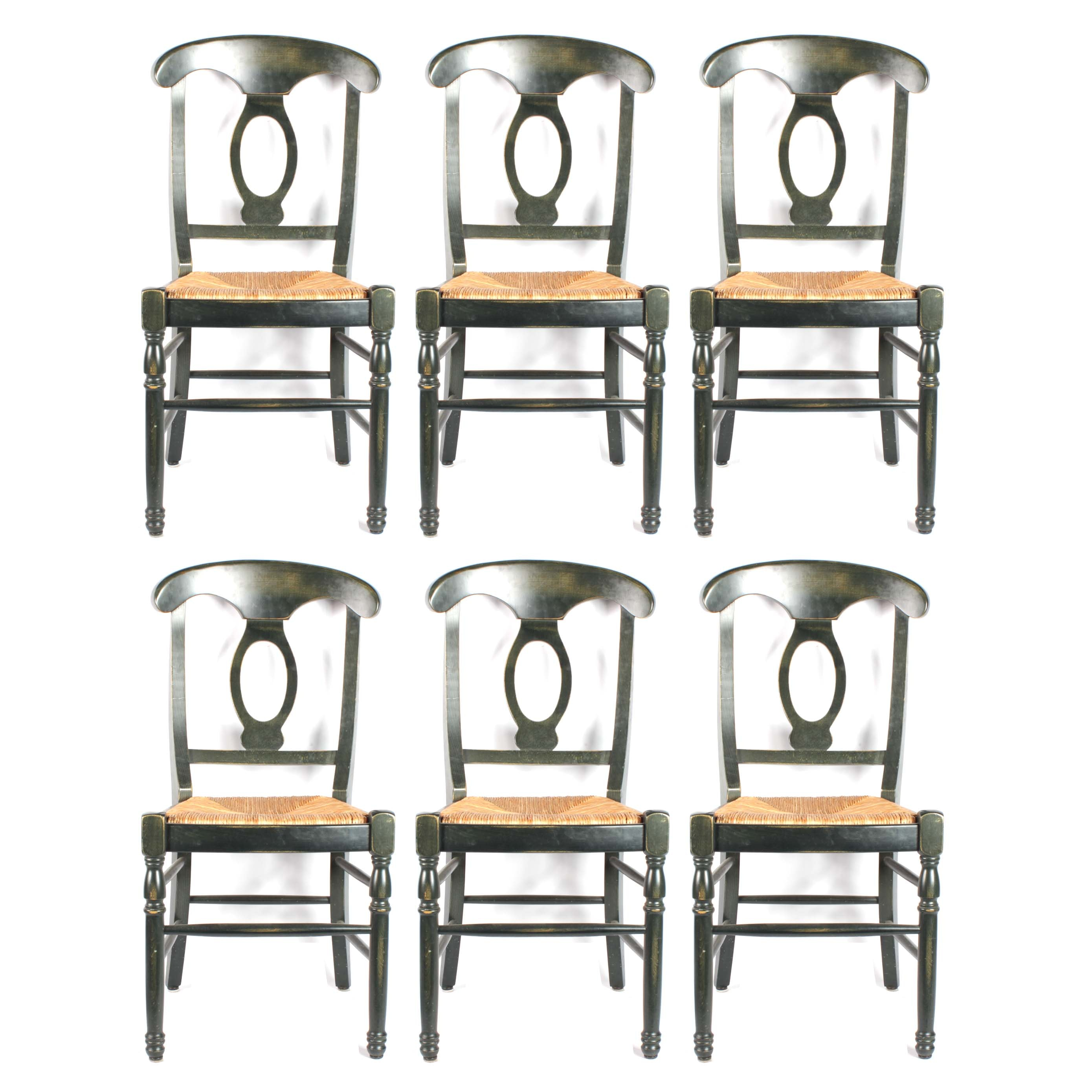 Contemporary Dining Chairs with Rush Seats, Late 20th Century