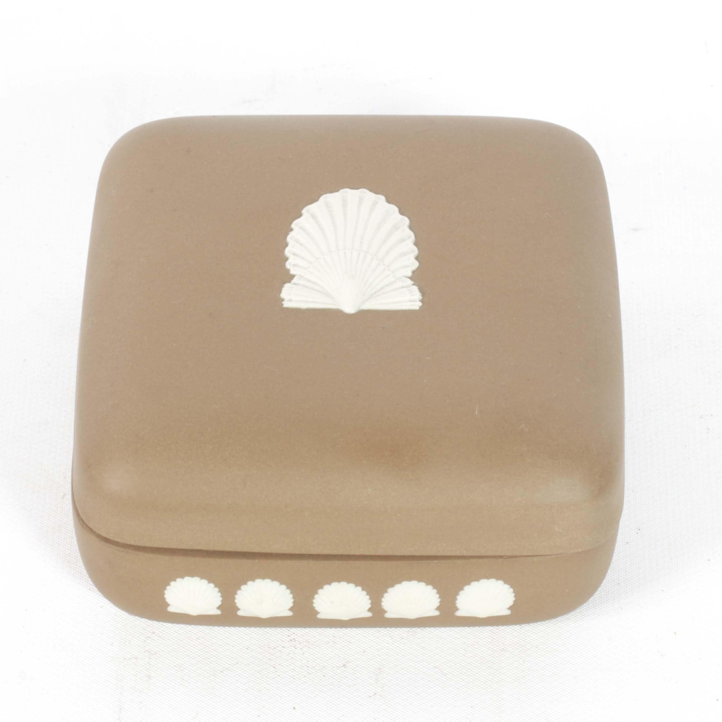 "Wedgwood ""Cream on Taupe"" Jasperware Trinket Box"