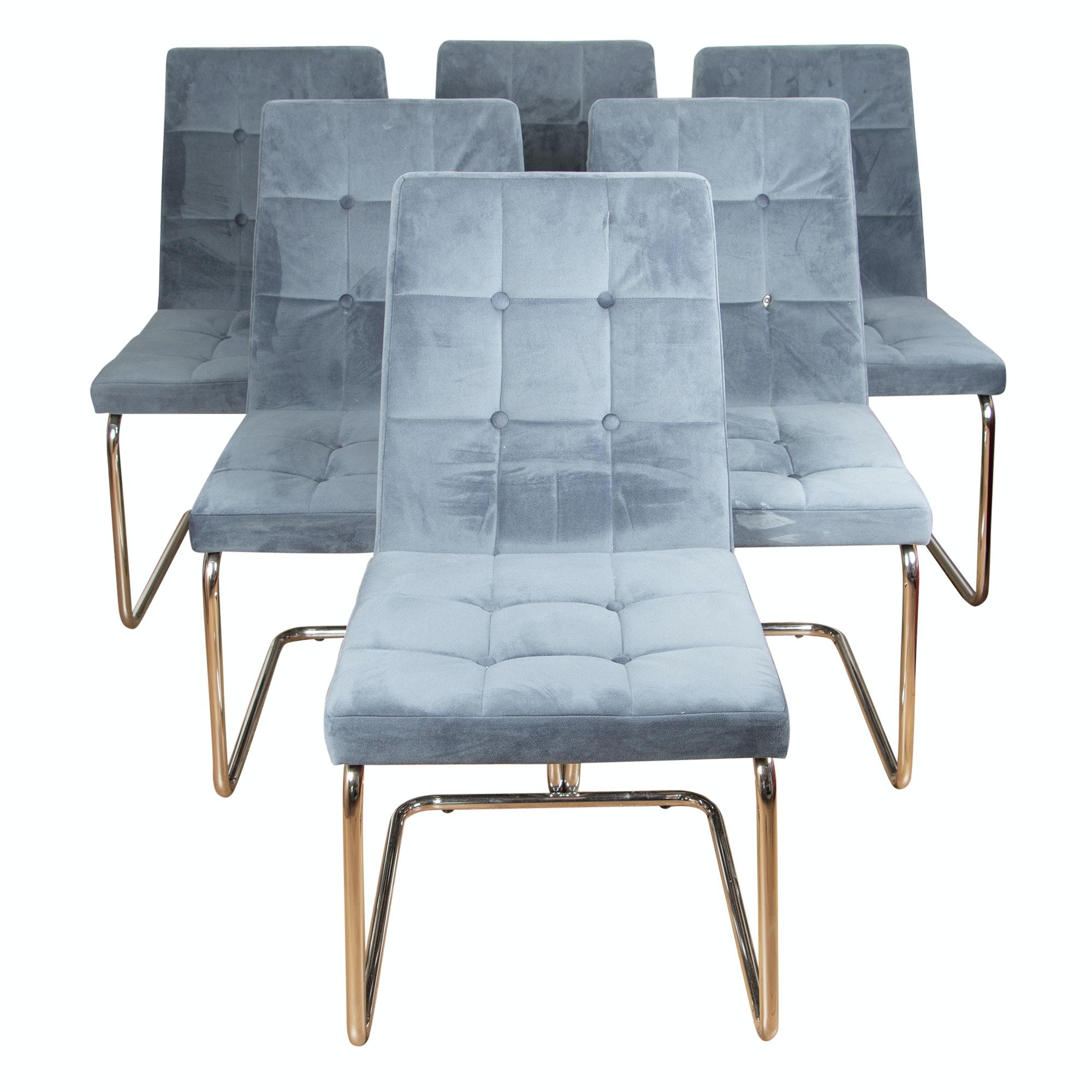 Velvet Upholstered Cantilever Slipper Chairs, Dated 2017