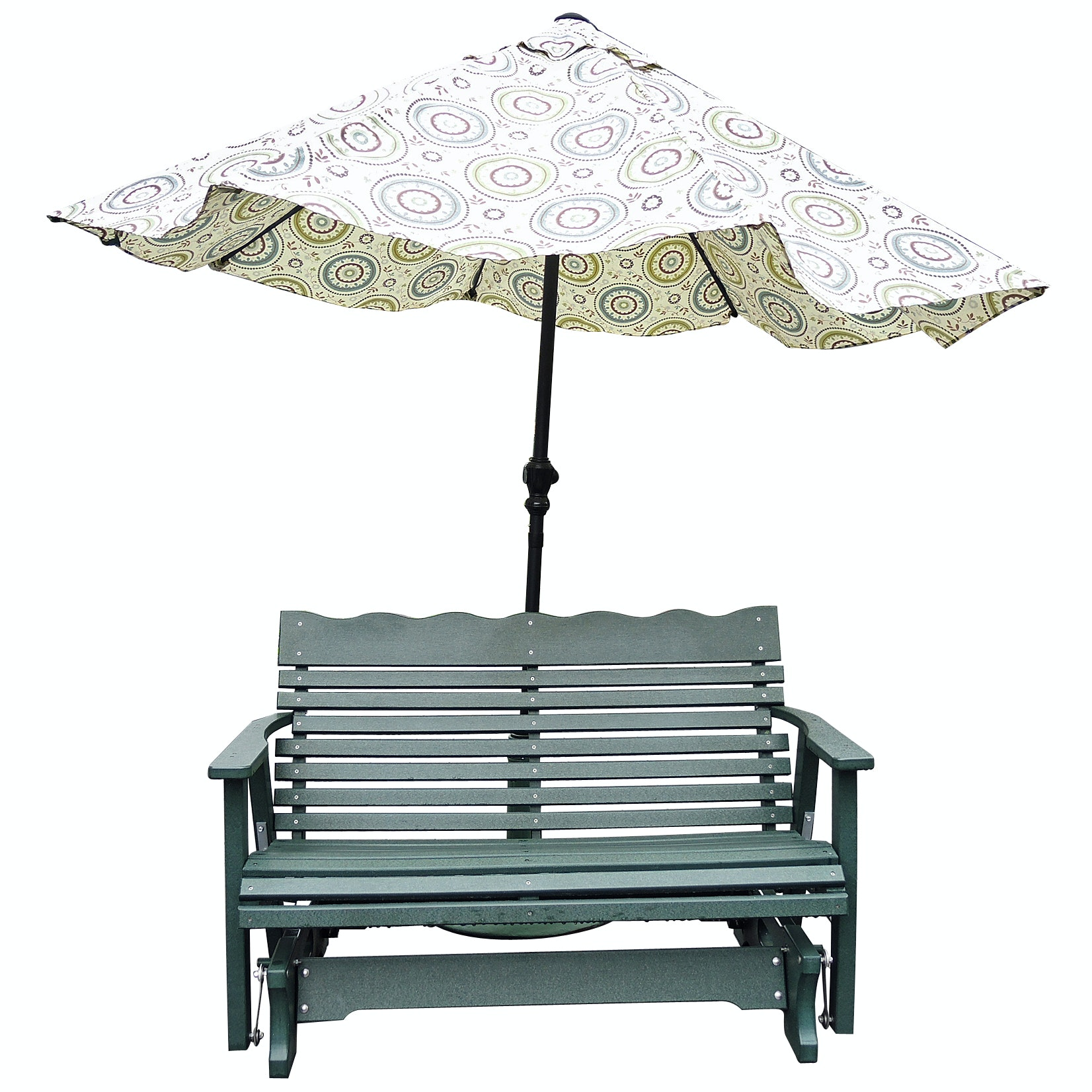 Dutch Crafters Poly Lumber Glider Bench with Umbrella