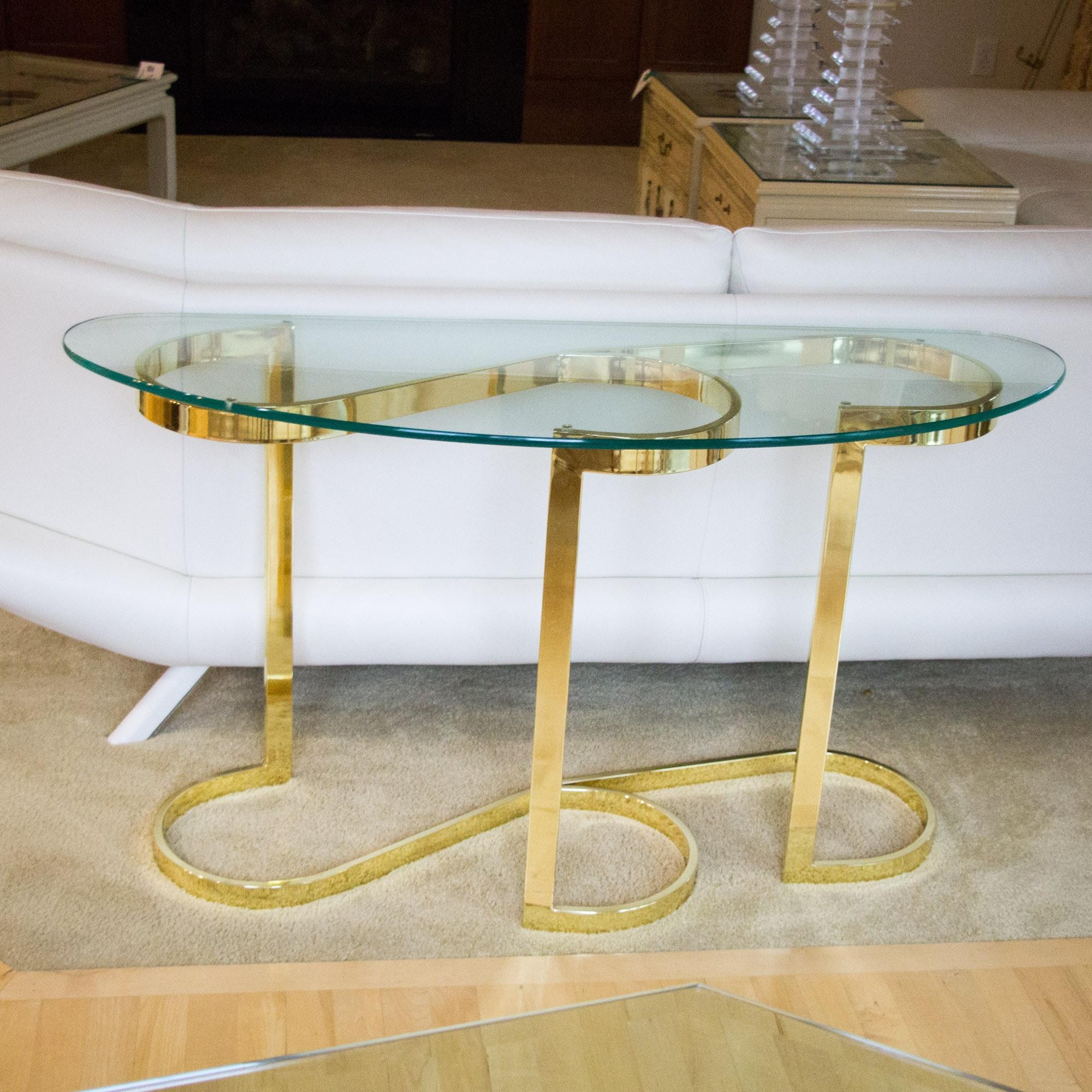 Brass Curvilinear Sofa Table