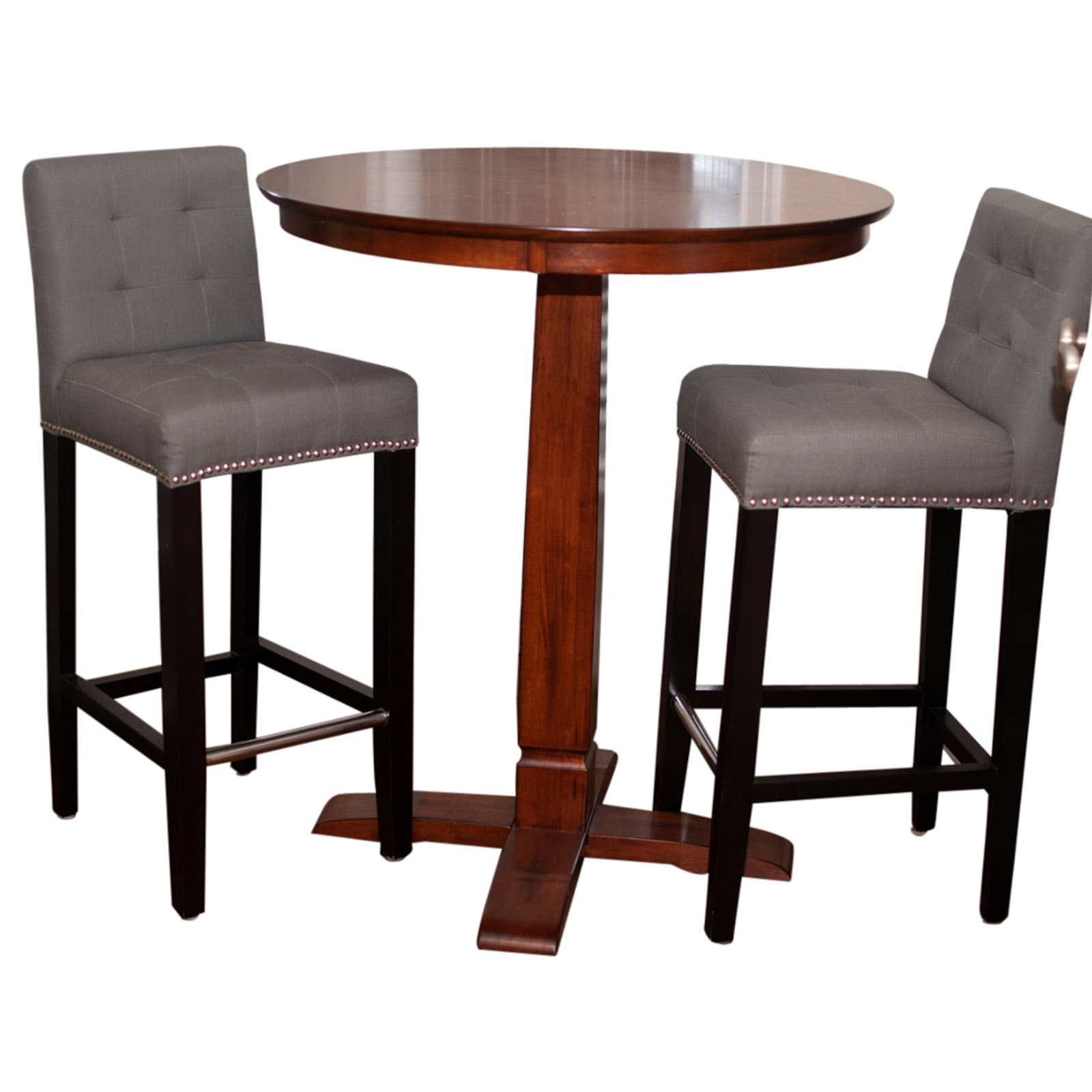 Mahogany High Top Table by Hillsdale Furniture with Two Upholstered Chairs