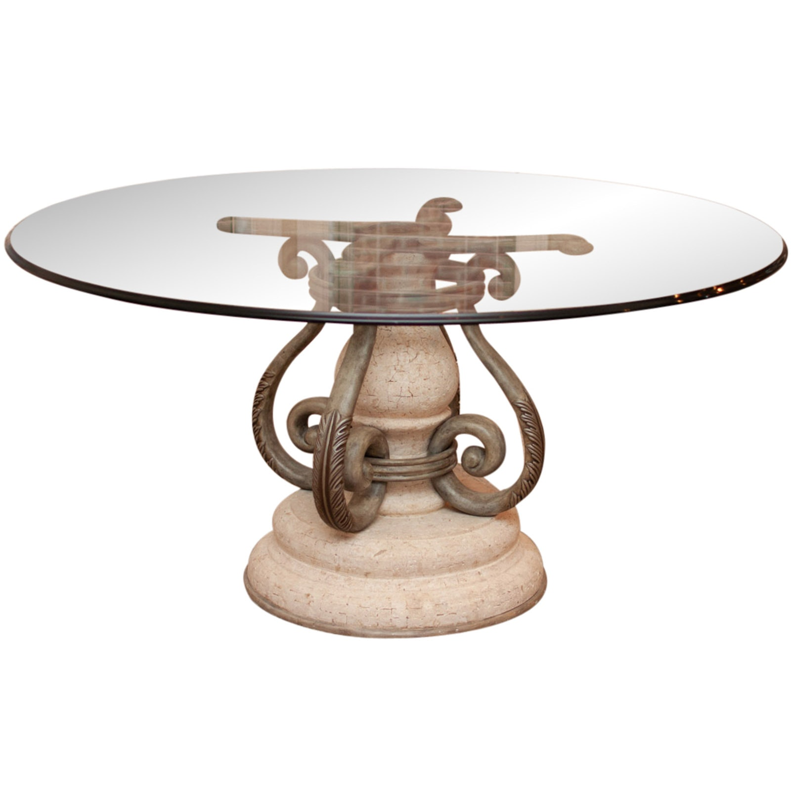 Modern Neoclassical Style Glass Top Dining Table by Henredon with Pads by OTPC