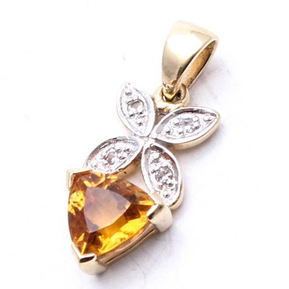 14K Yellow Gold Citrine and White Topaz Pendant