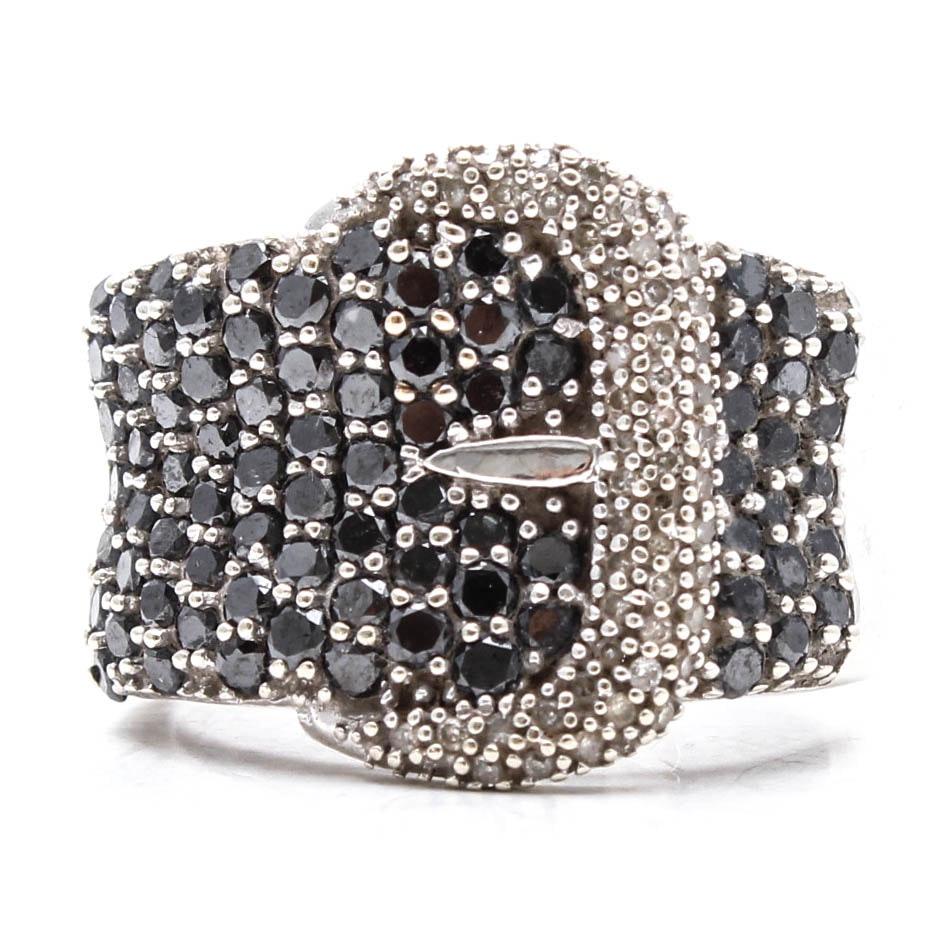 10K White Gold 1.20 CTW Diamond and Black Diamond Ring