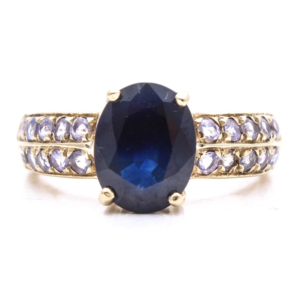 10K Yellow Gold Sapphire and Tanzanite Ring