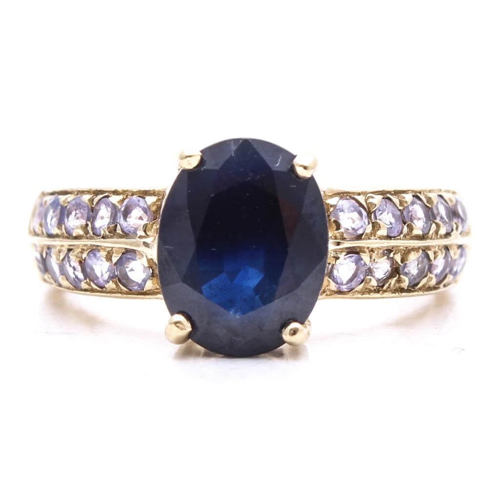 10K Yellow Gold Sapphire and Tanzanite Ring