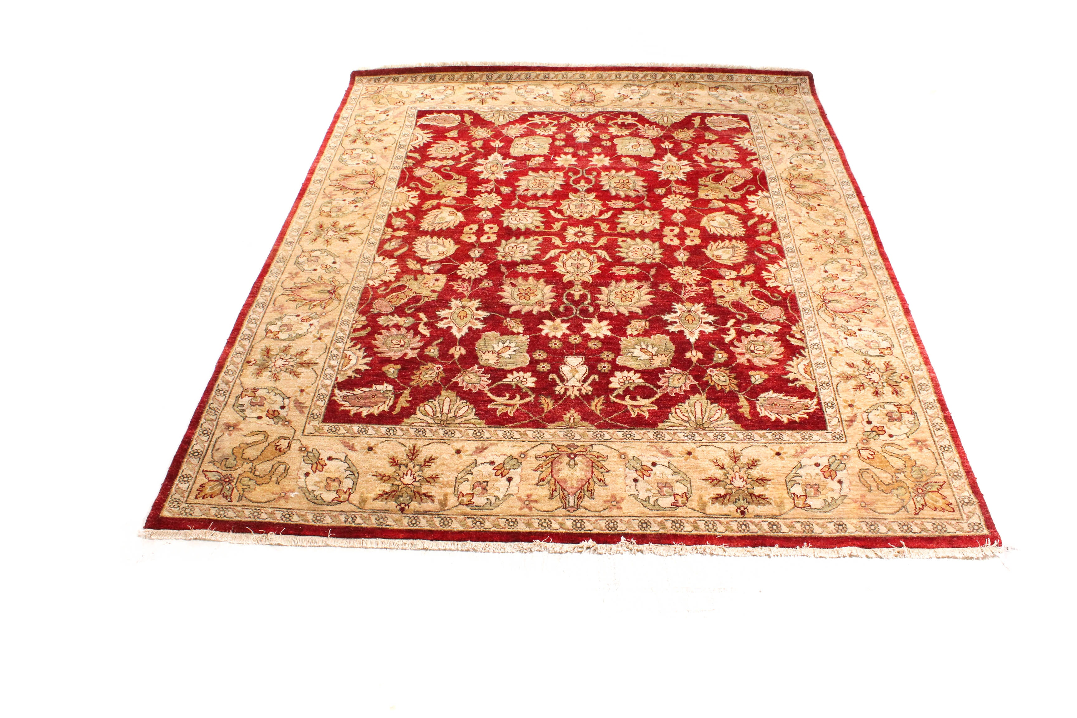 Hand-Knotted Indian Agra Style Area Rug