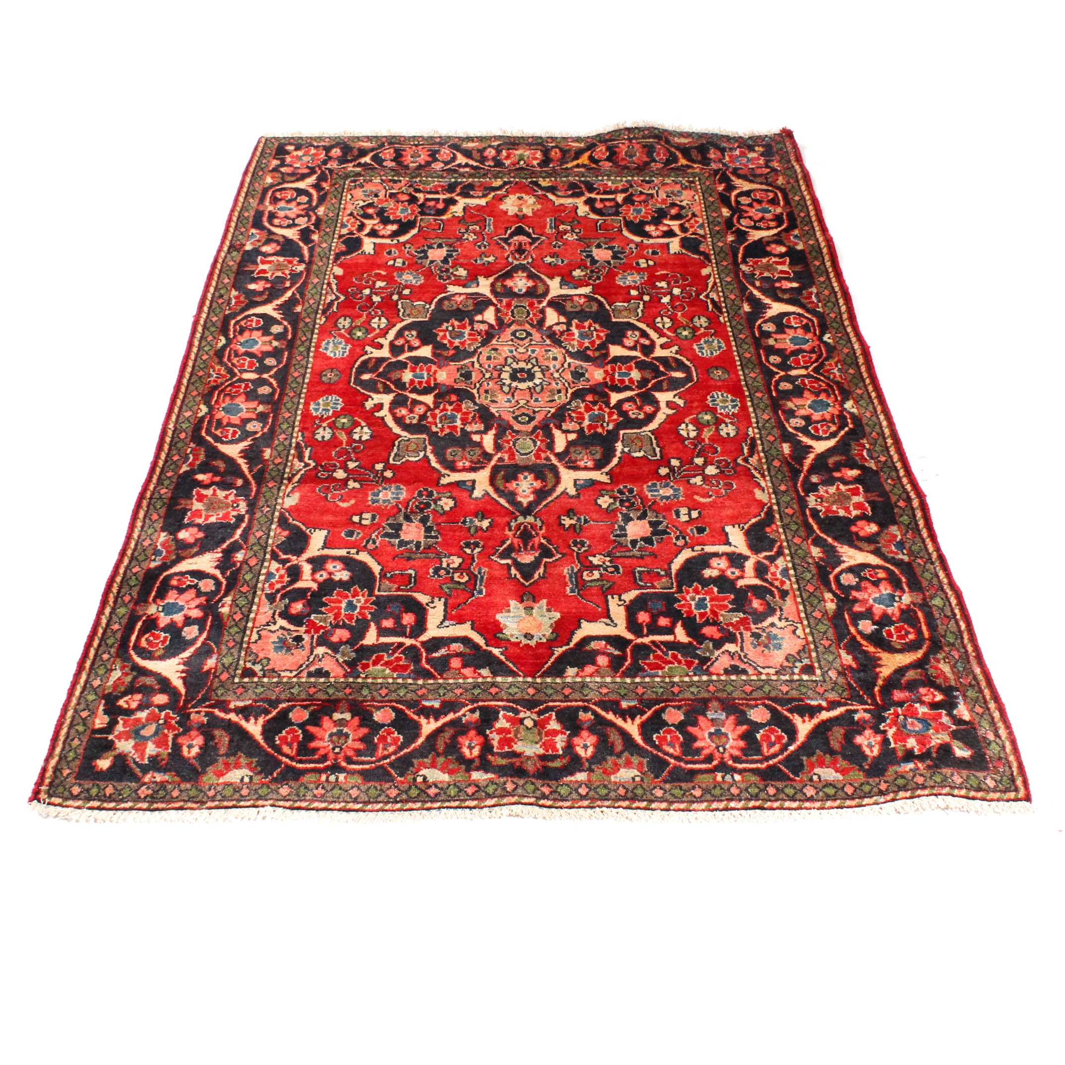Hand-Knotted Indo-Persian Isfahan Rug