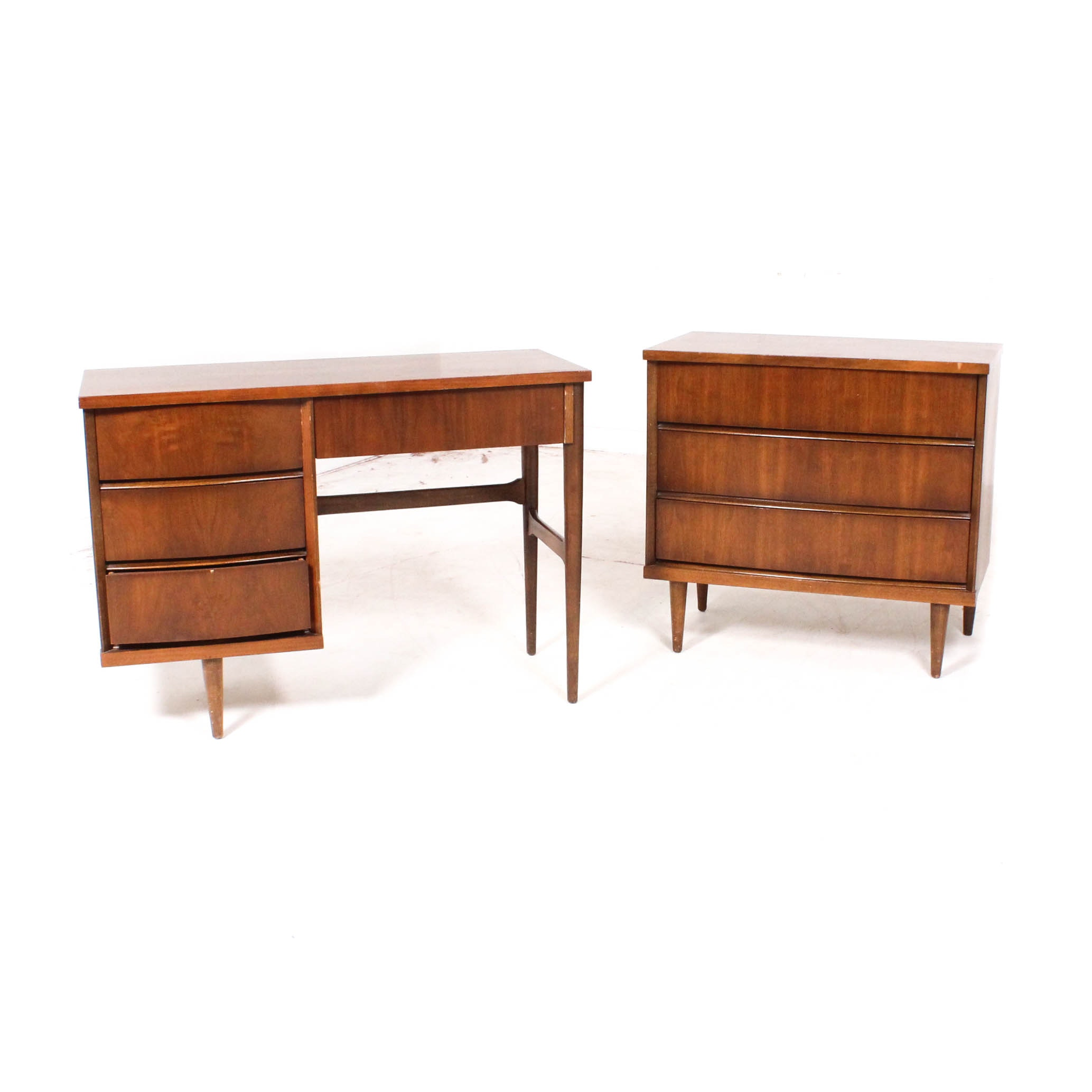 Walnut Mid Century Modern Desk and Dresser by Bassett Furniture