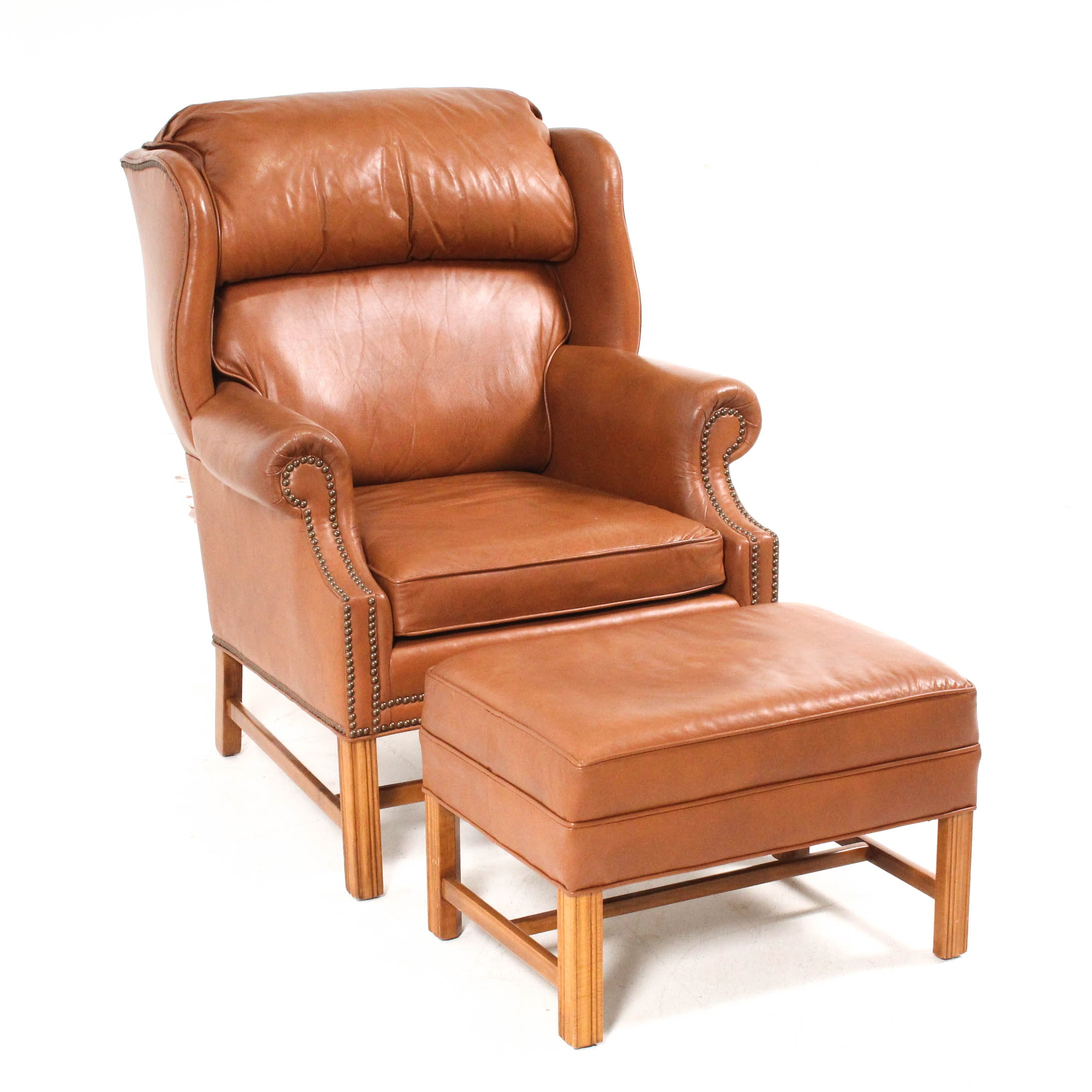 Ethan Allen Leather Arm Chair with Ottoman
