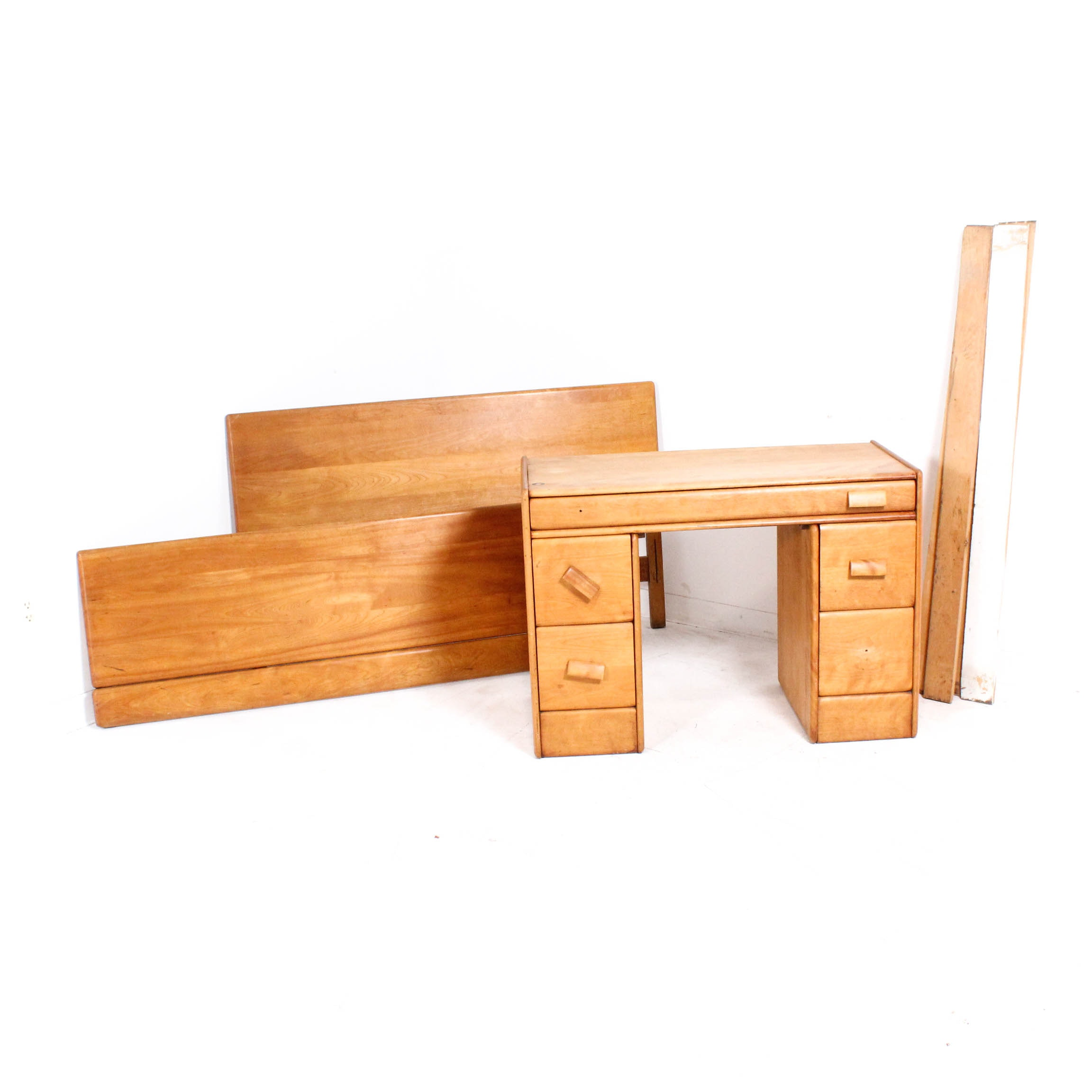 Vintage Kneehole Desk and Twin Bed Frame