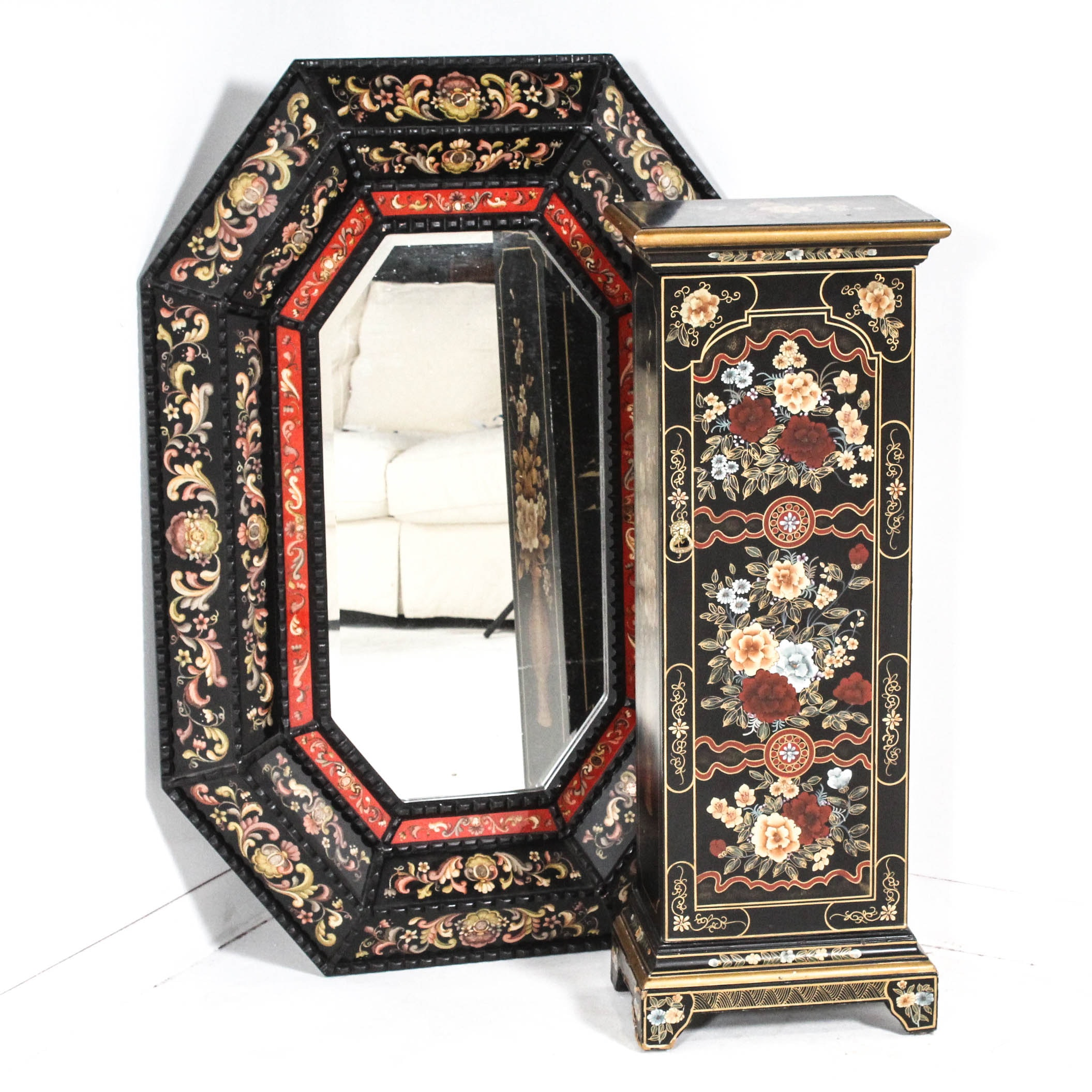 Chinoiserie Wall Mirror and Accent Bookshelf