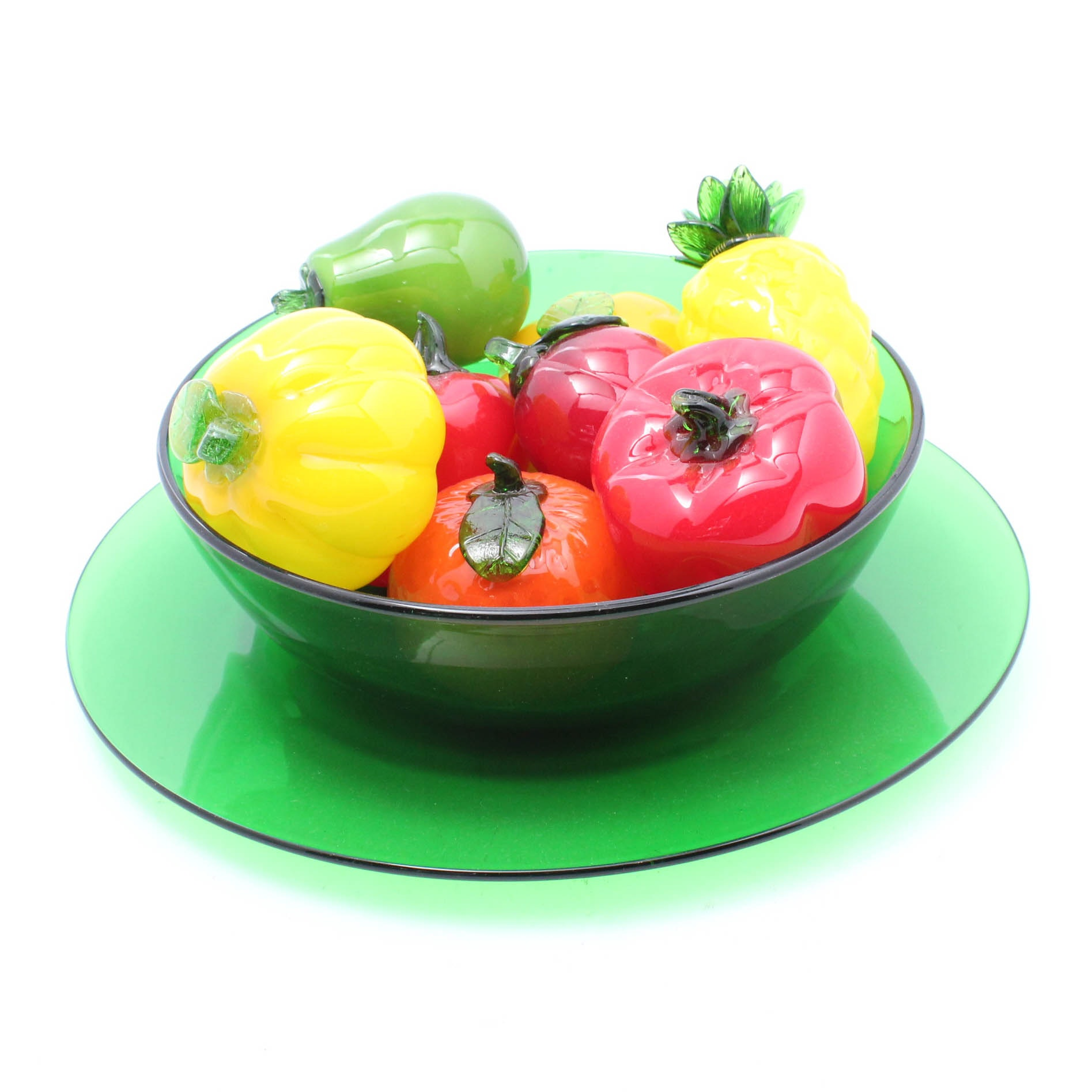 Green Glass Serving Bowl with Glass Fruit
