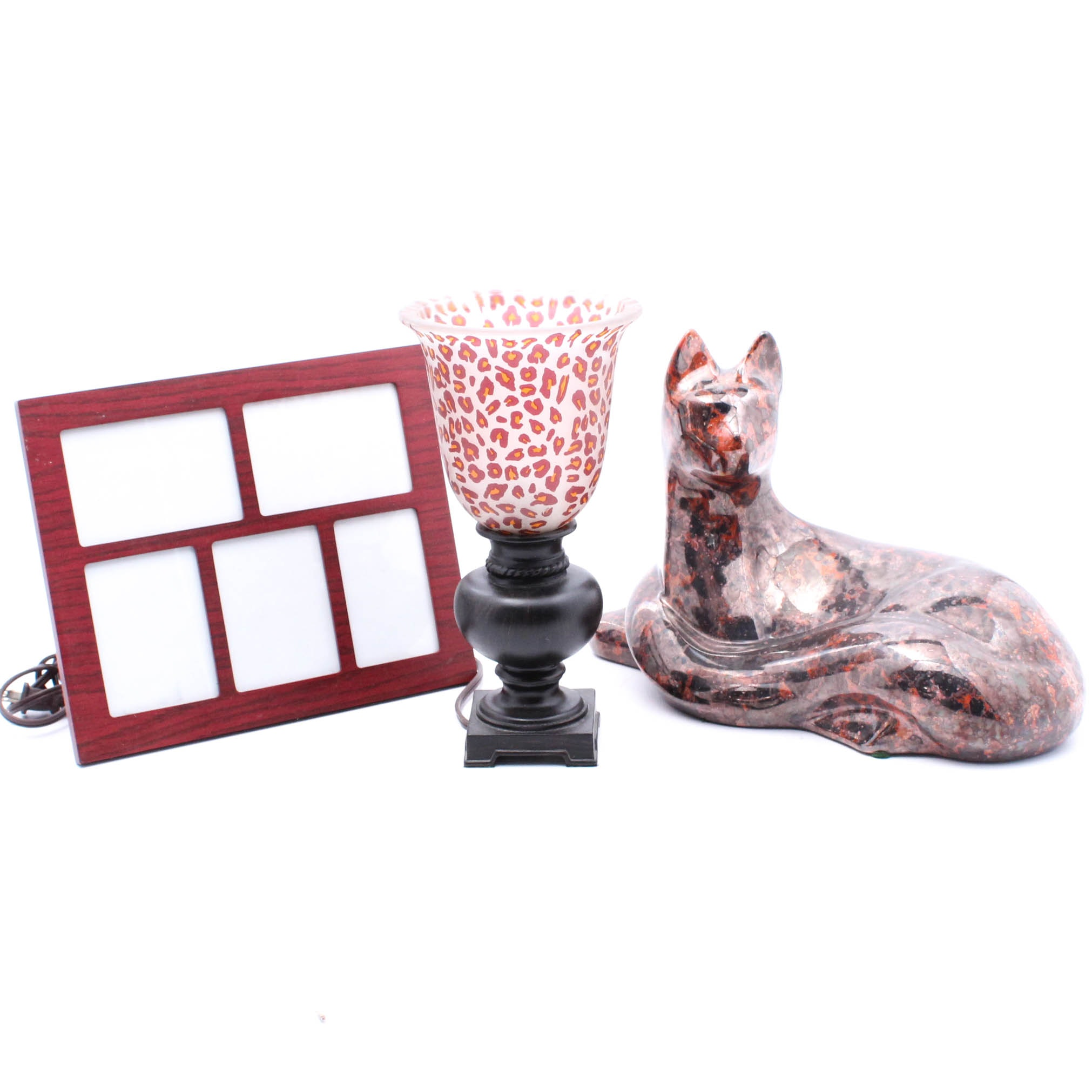 Haeger Glazed Ceramic Cat with Lamp and Picture Frame