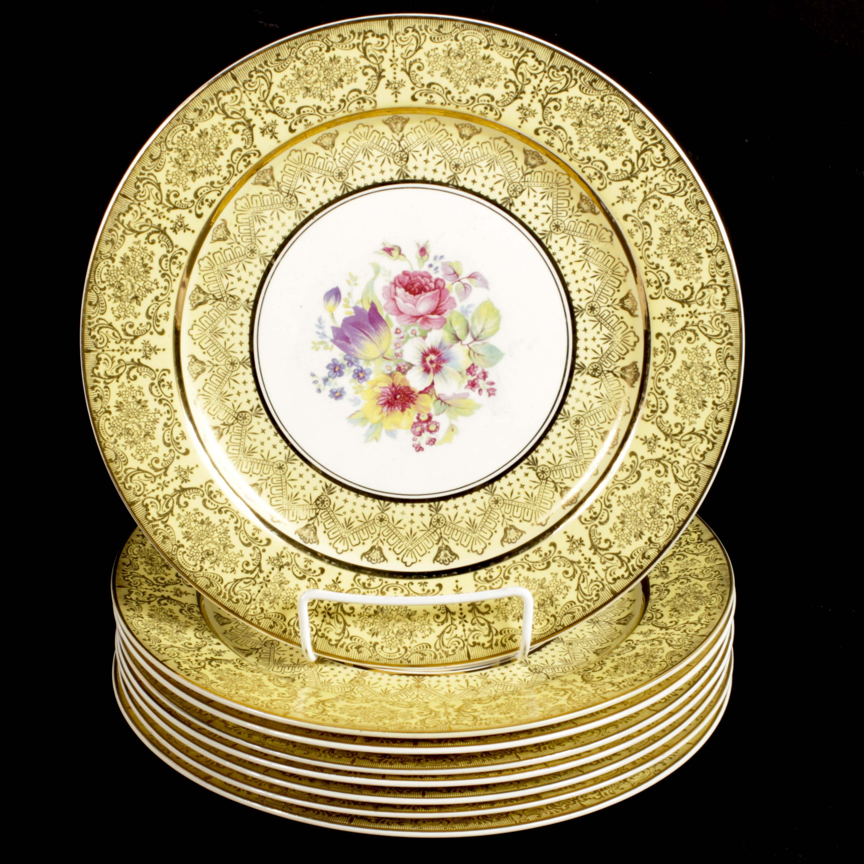 Stetson China Floral and Gilt Buffet Service Dinner Plates, Mid 20th Century