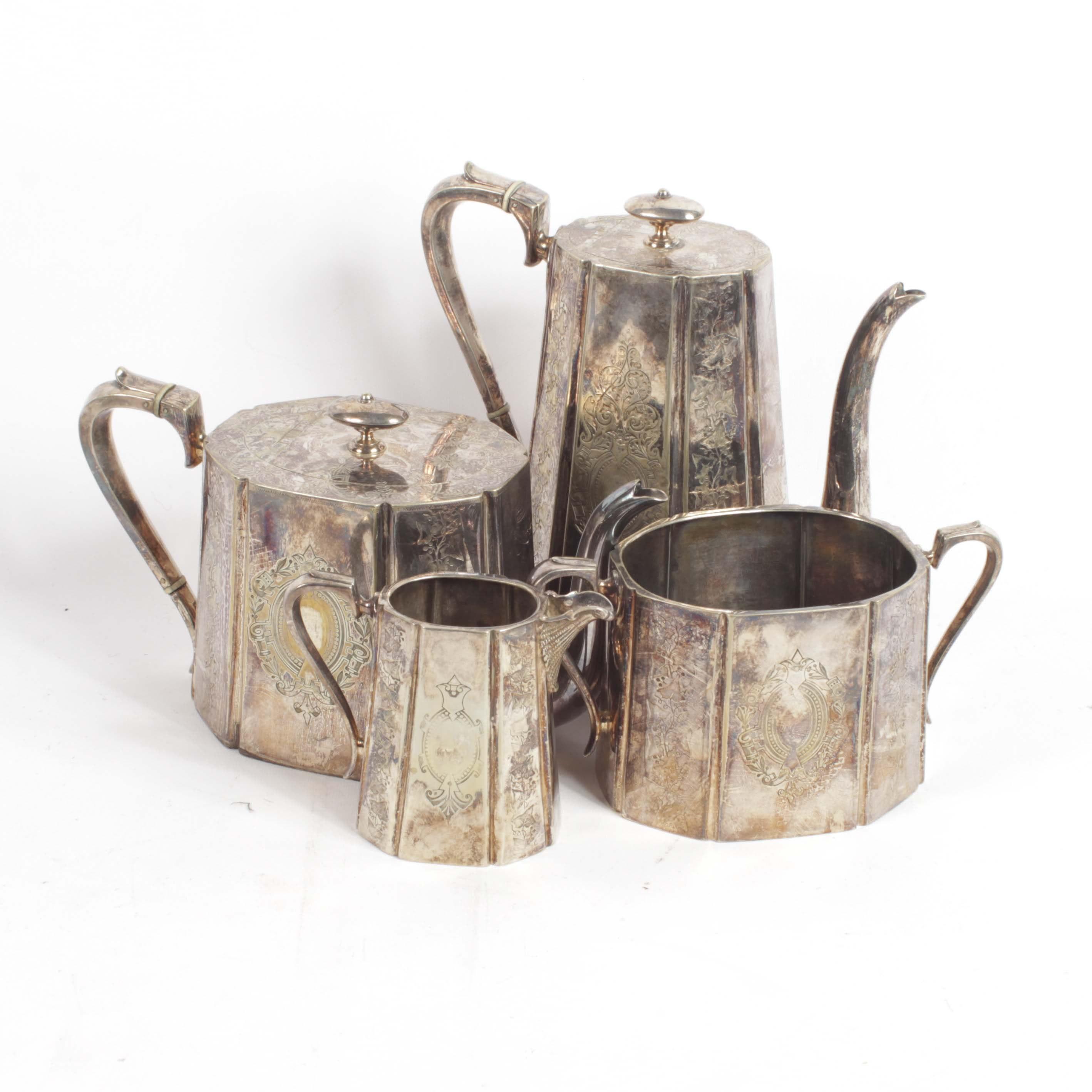 English Silver Plate Silver Tea and Coffee Service, Circa 1900