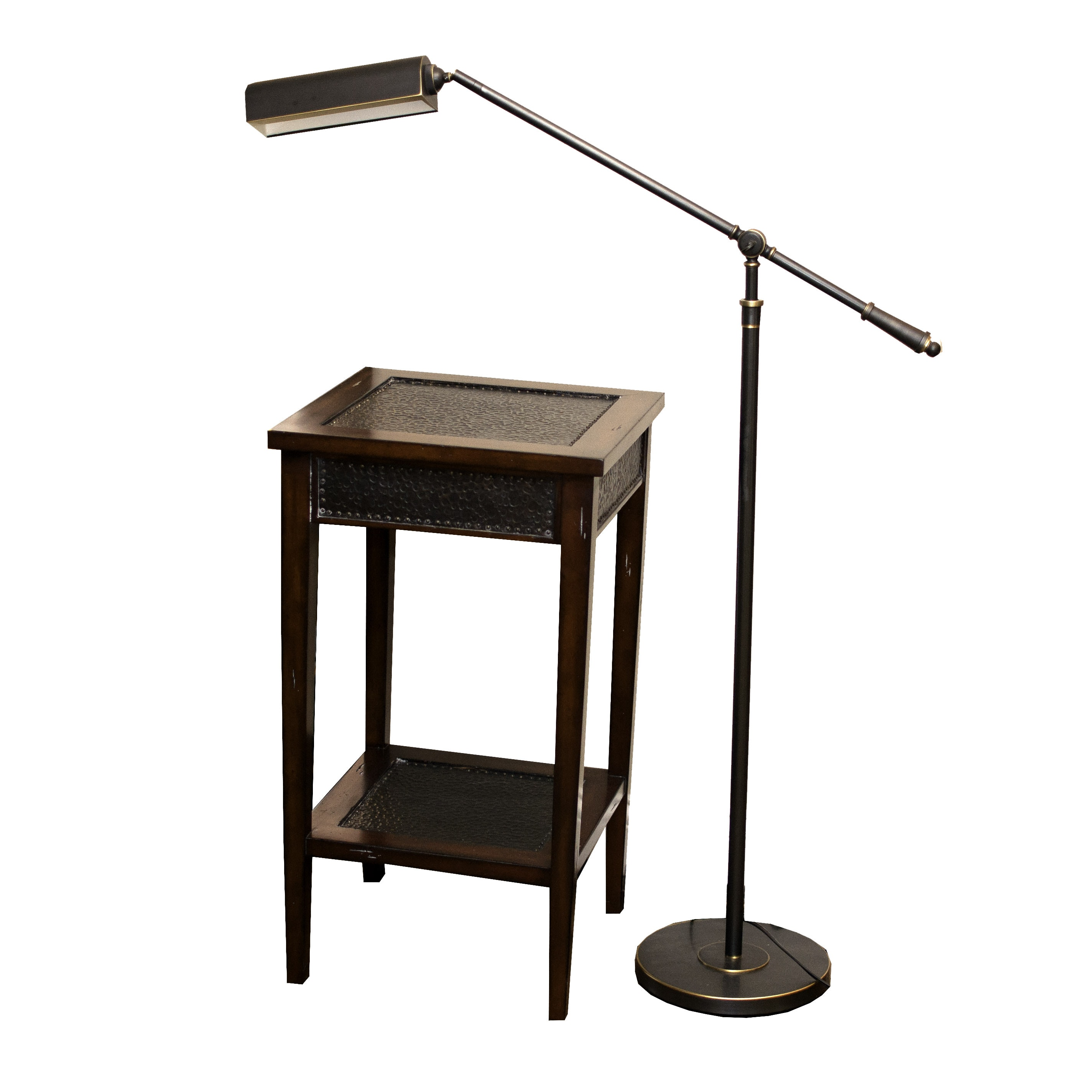 Matiland-Smith Accent Table with Swing Arm Floor Lamp
