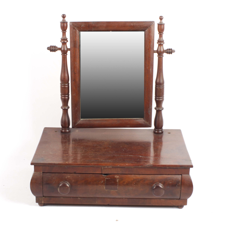 Empire Walnut Shaving Mirror, Mid-19th Century