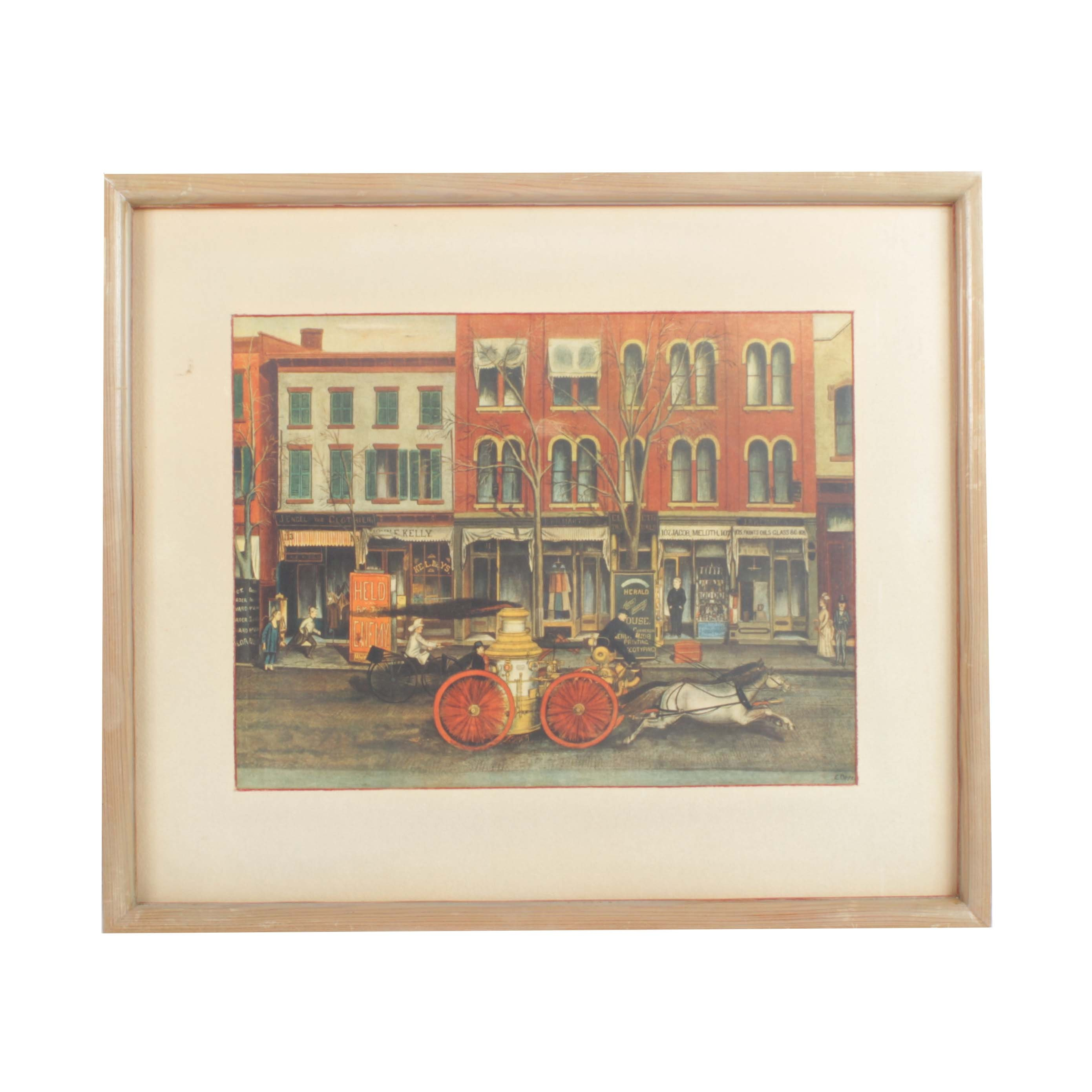 "After Ernest Opper Color Lithograph ""Fire Engine Main Street Elizabeth, N.J."""