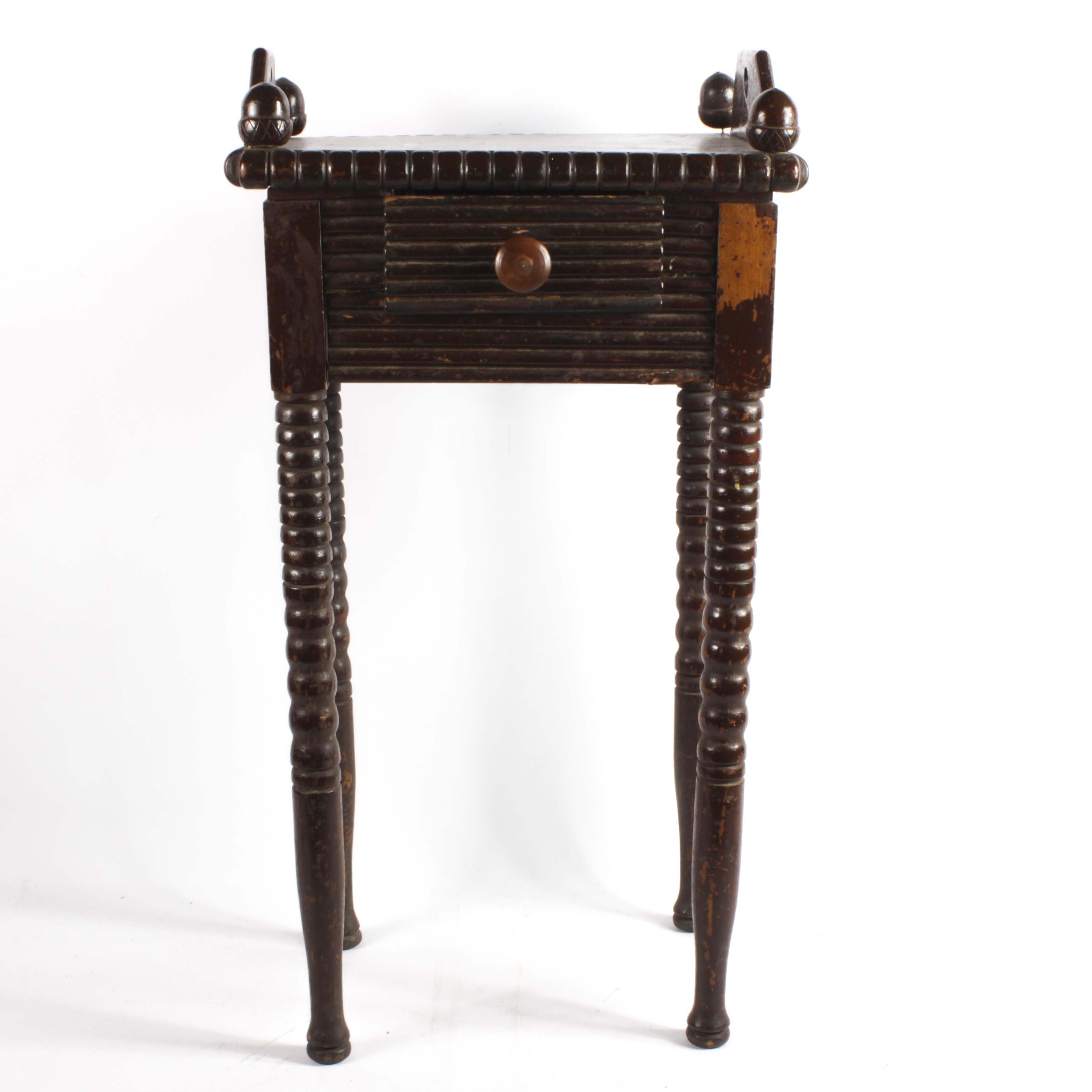 Rustic Walnut Finish Smoking Table, Early 20th Century