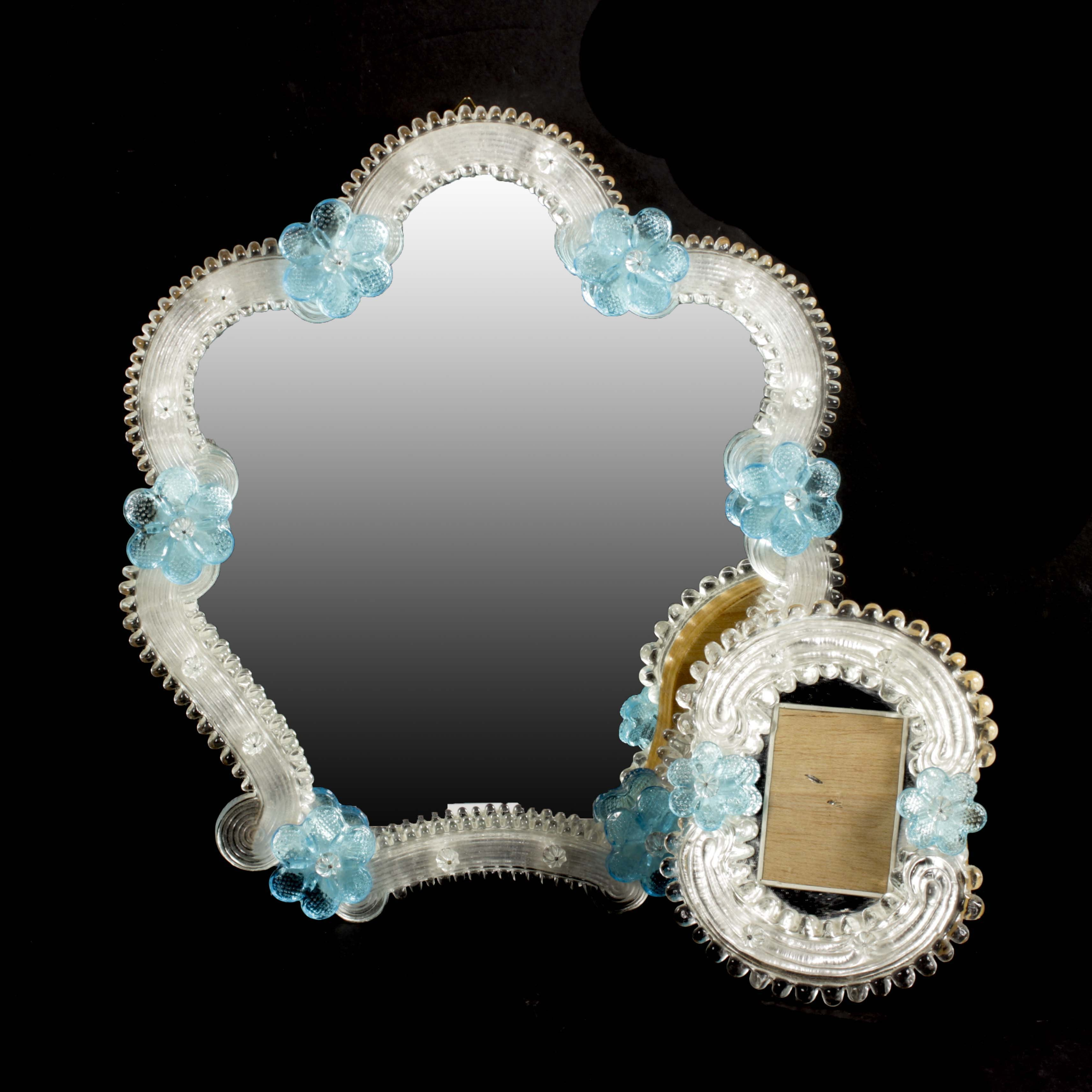Venetian Art Glass Mirror and Picture Frame, Mid 20th Century