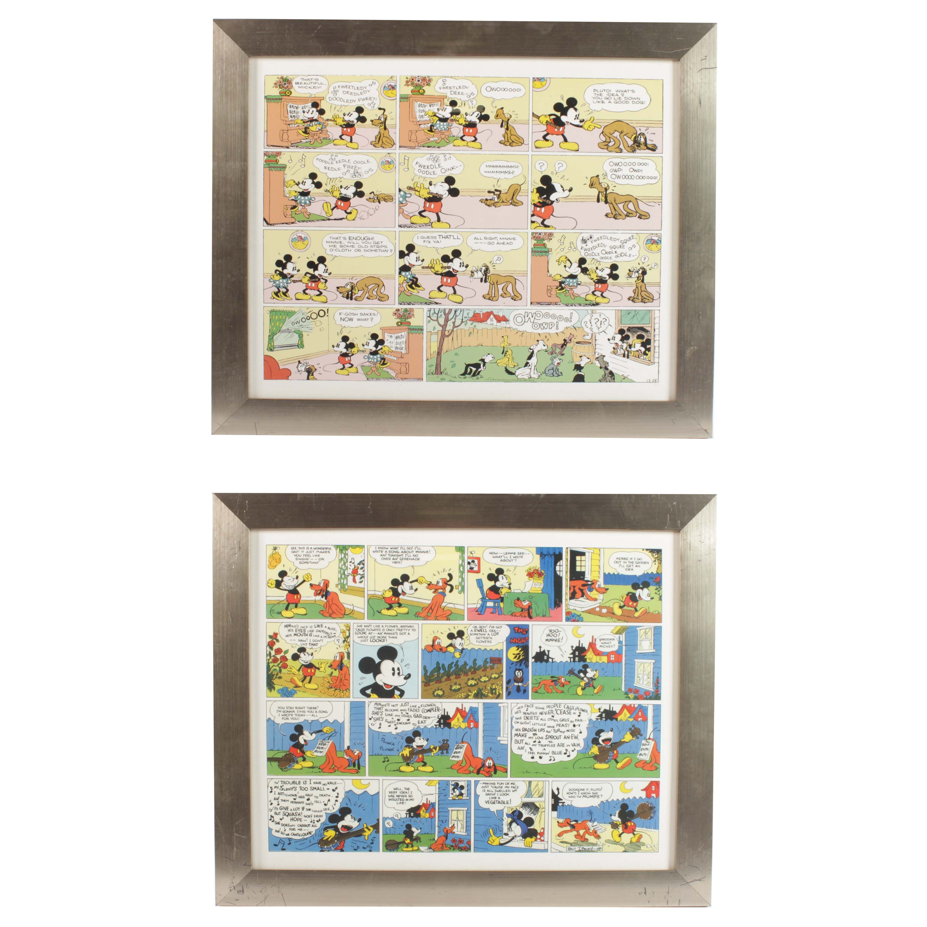 After Walt Disney Offset Lithographs Mickey Mouse Comic Strips