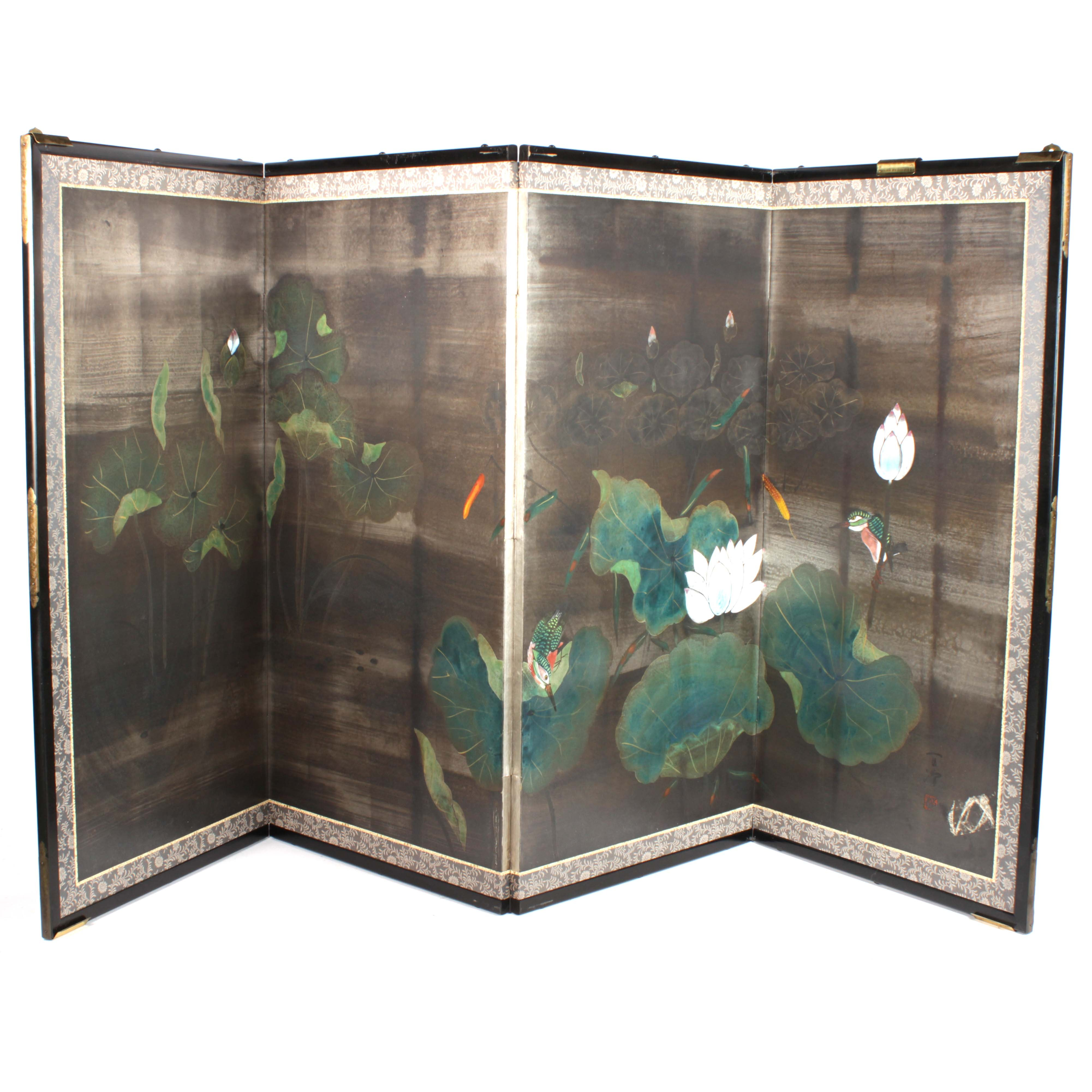 Japanese Painted Folding Screen