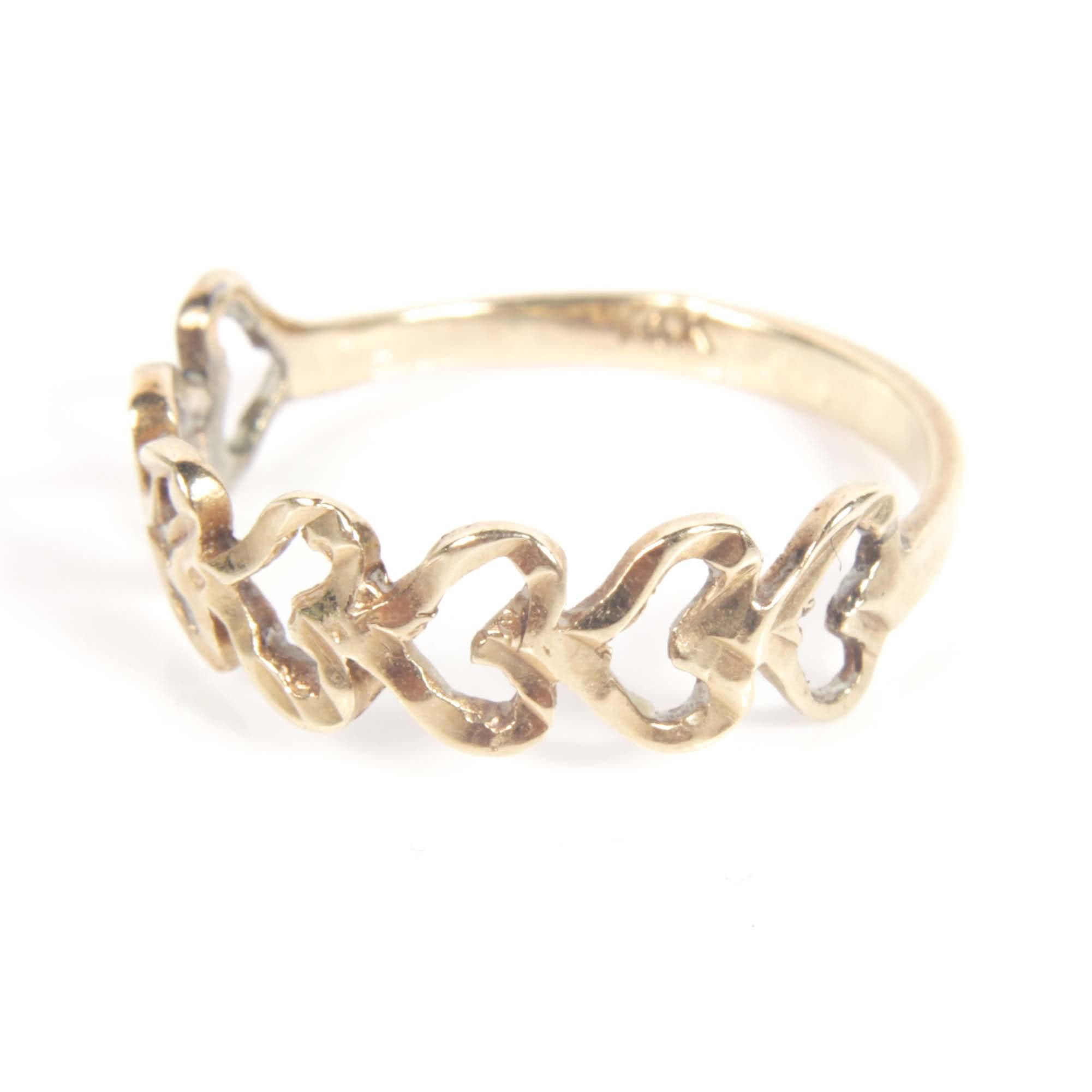 14K Yellow Gold Open Heart Ring