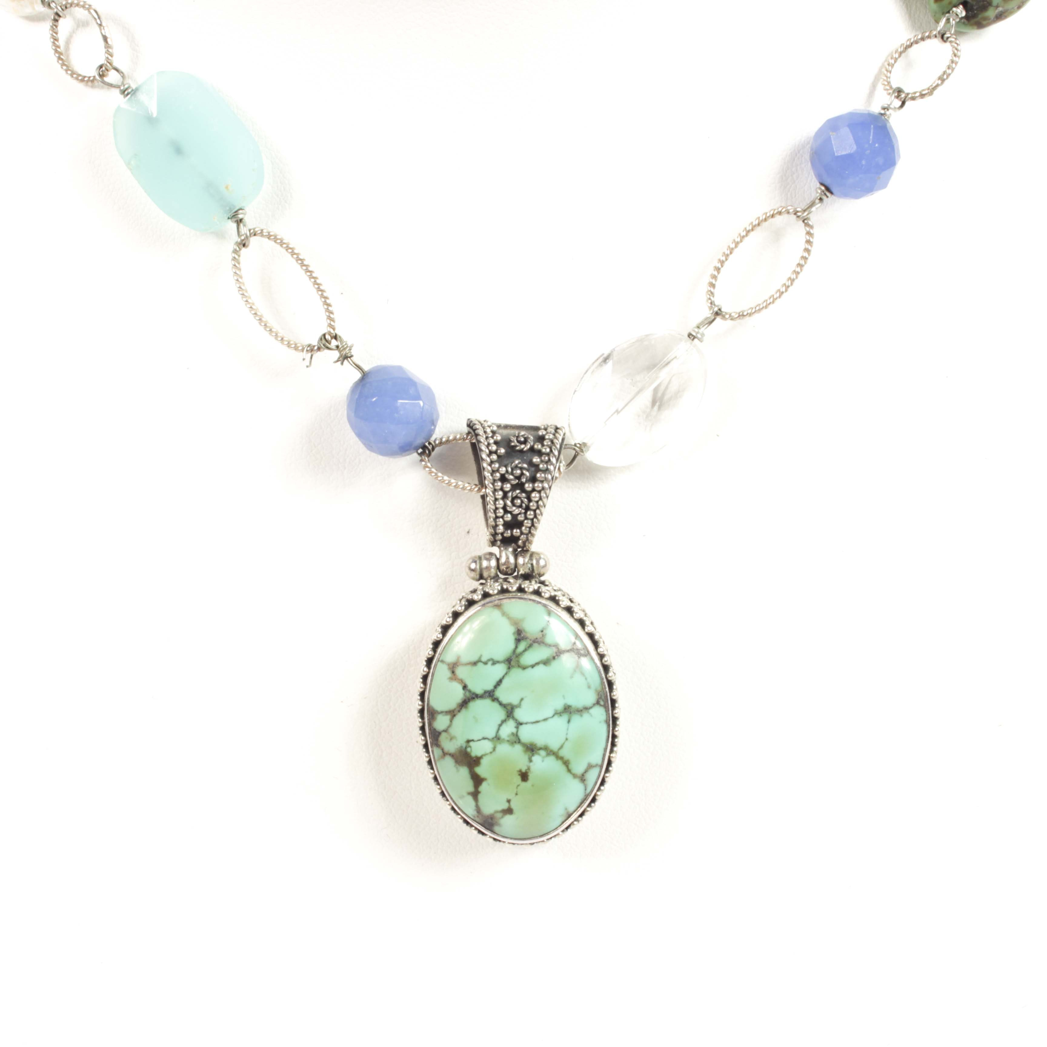 Sterling Silver, Turquoise, Chalcedony and Glass Bead Necklace