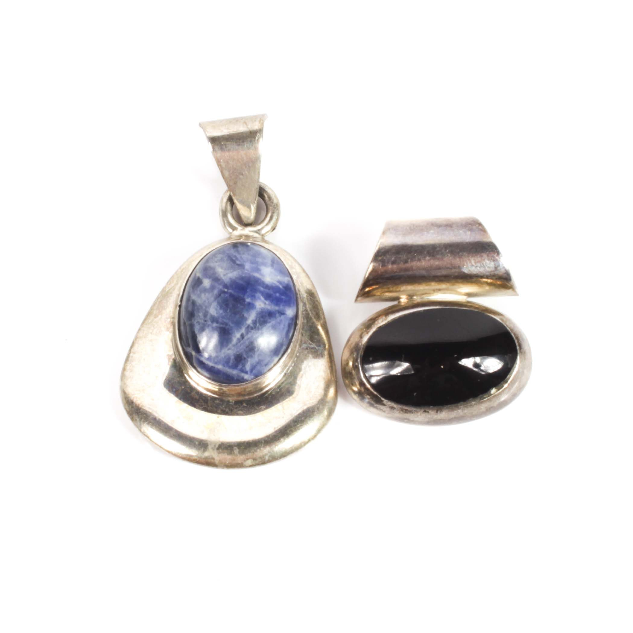 Sterling Silver and Black Onyx Pendant and Sterling Silver and Sodalite Pendant
