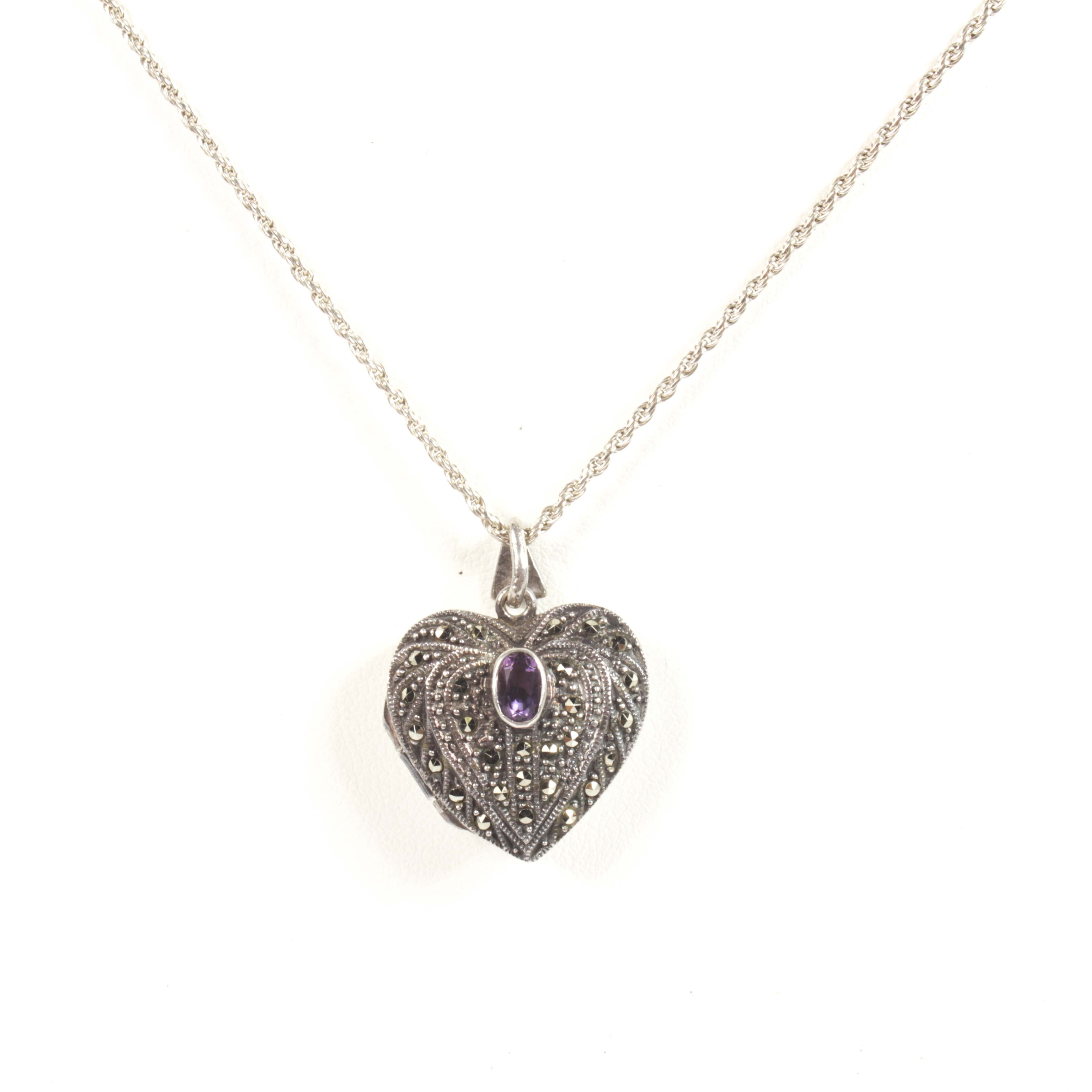 Sterling Silver, Amethyst and Marcasite Heart Locket Pendant Necklace