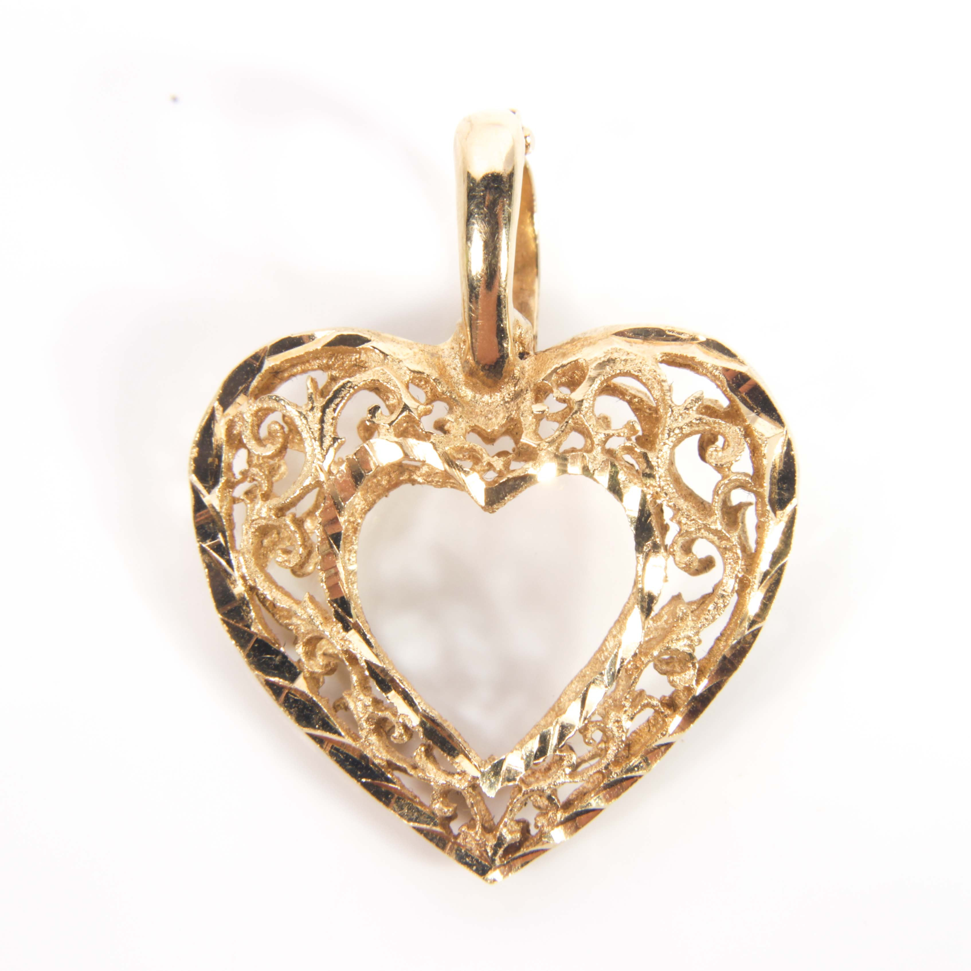 14K Yellow Gold Curved Double Sided Open Heart Pendant Enhancer